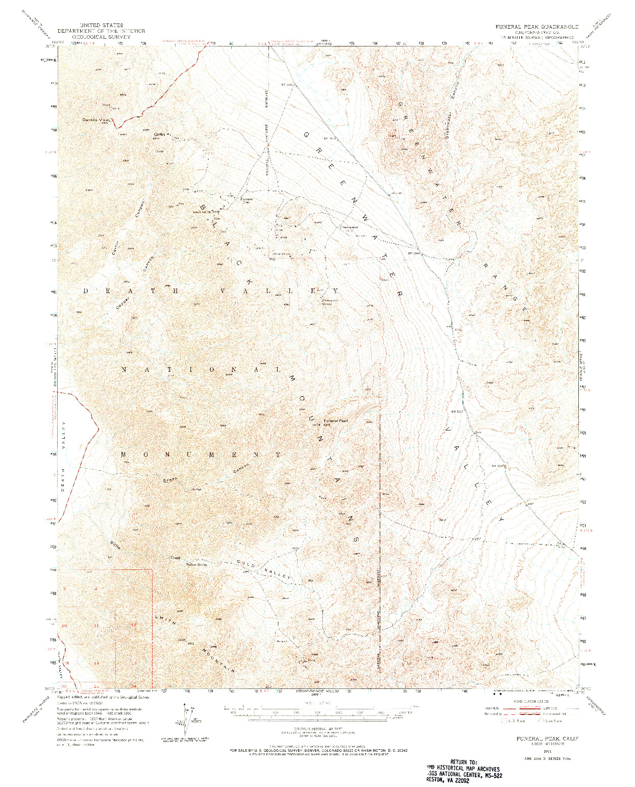 USGS 1:62500-SCALE QUADRANGLE FOR FUNERAL PEAK, CA 1951