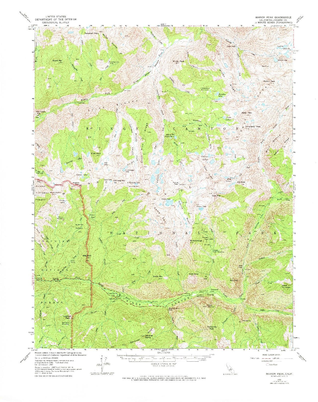 USGS 1:62500-SCALE QUADRANGLE FOR MARION PEAK, CA 1967