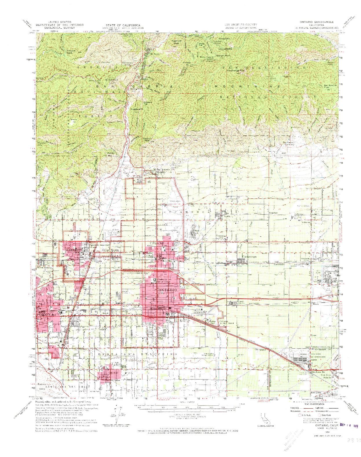 USGS 1:62500-SCALE QUADRANGLE FOR ONTARIO, CA 1954