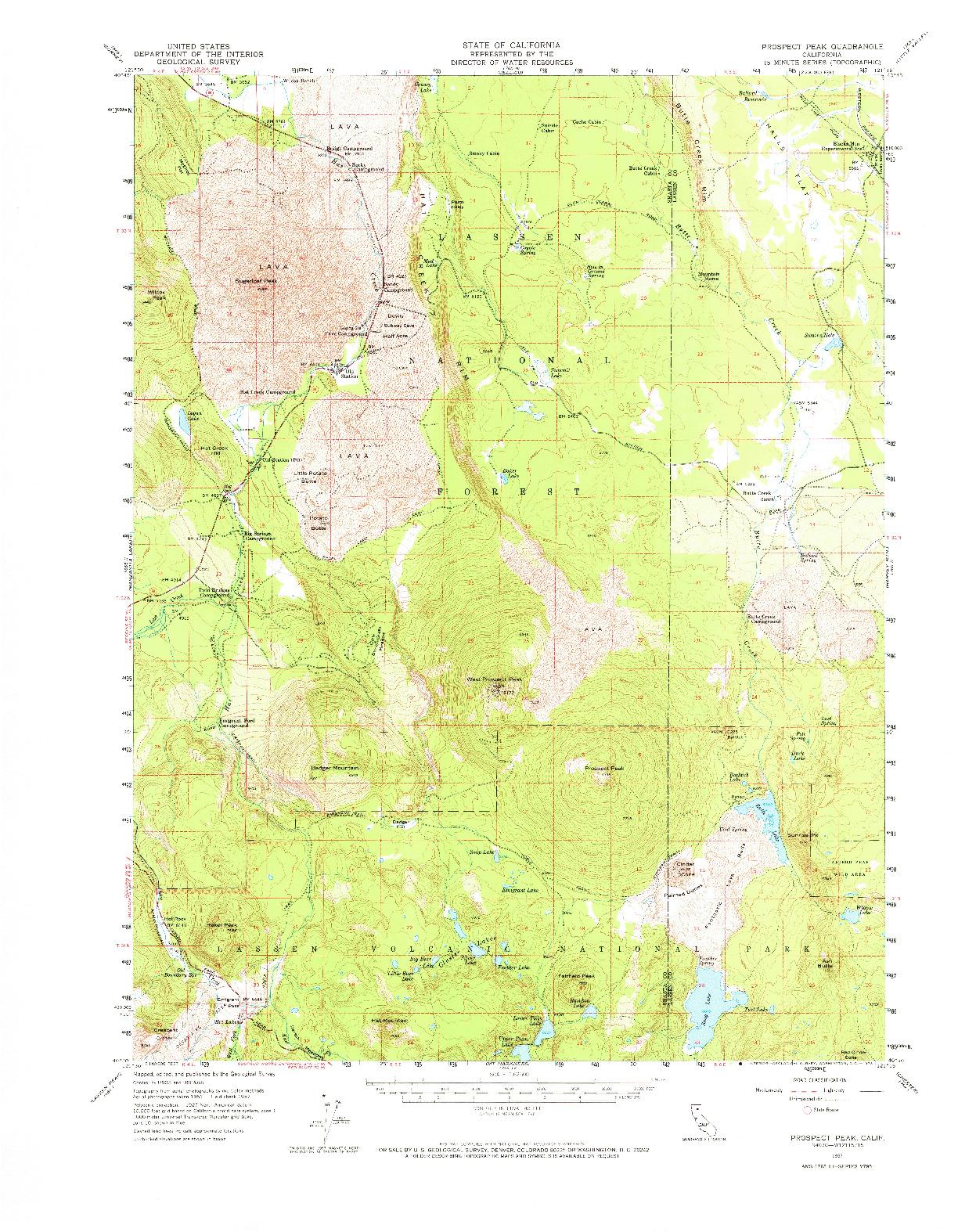 USGS 1:62500-SCALE QUADRANGLE FOR PROSPECT PEAK, CA 1957