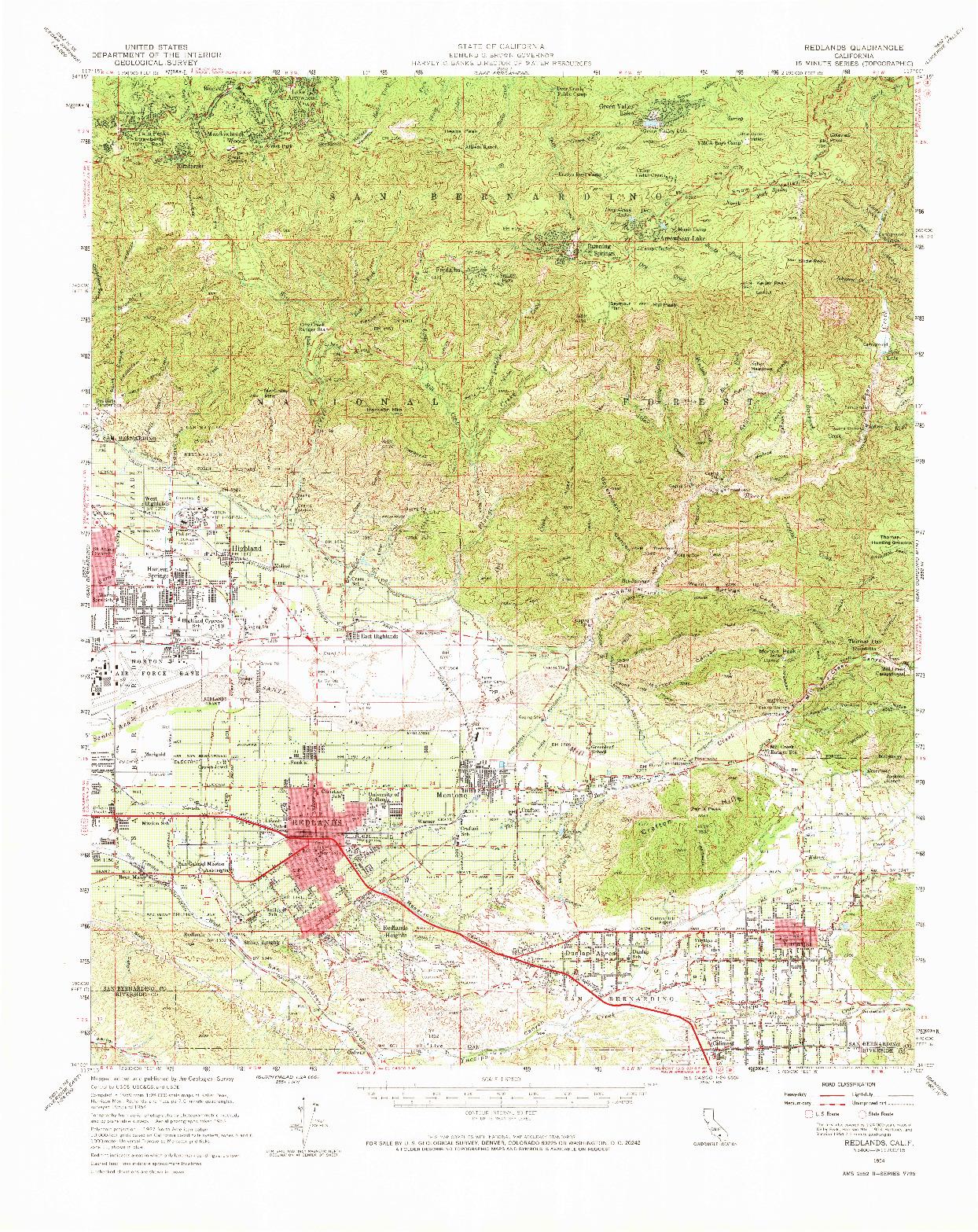 USGS 1:62500-SCALE QUADRANGLE FOR REDLANDS, CA 1954
