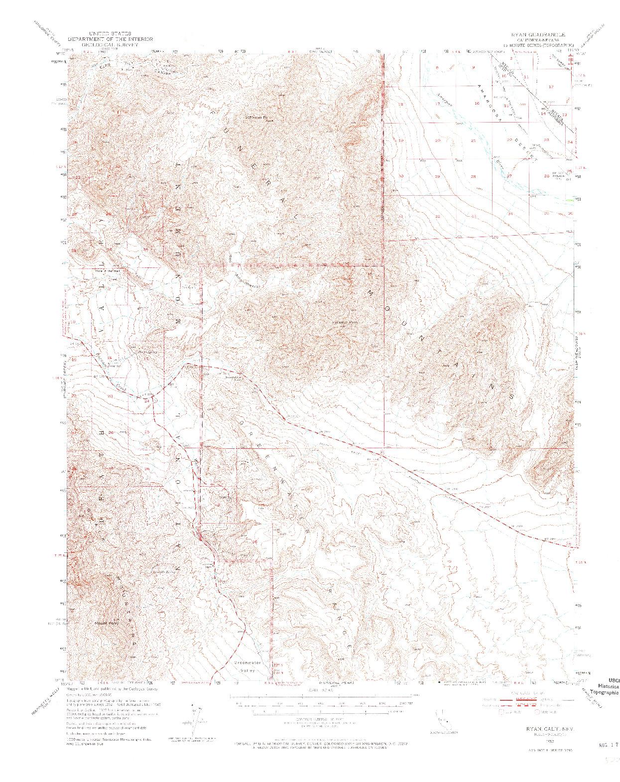 USGS 1:62500-SCALE QUADRANGLE FOR RYAN, CA 1952