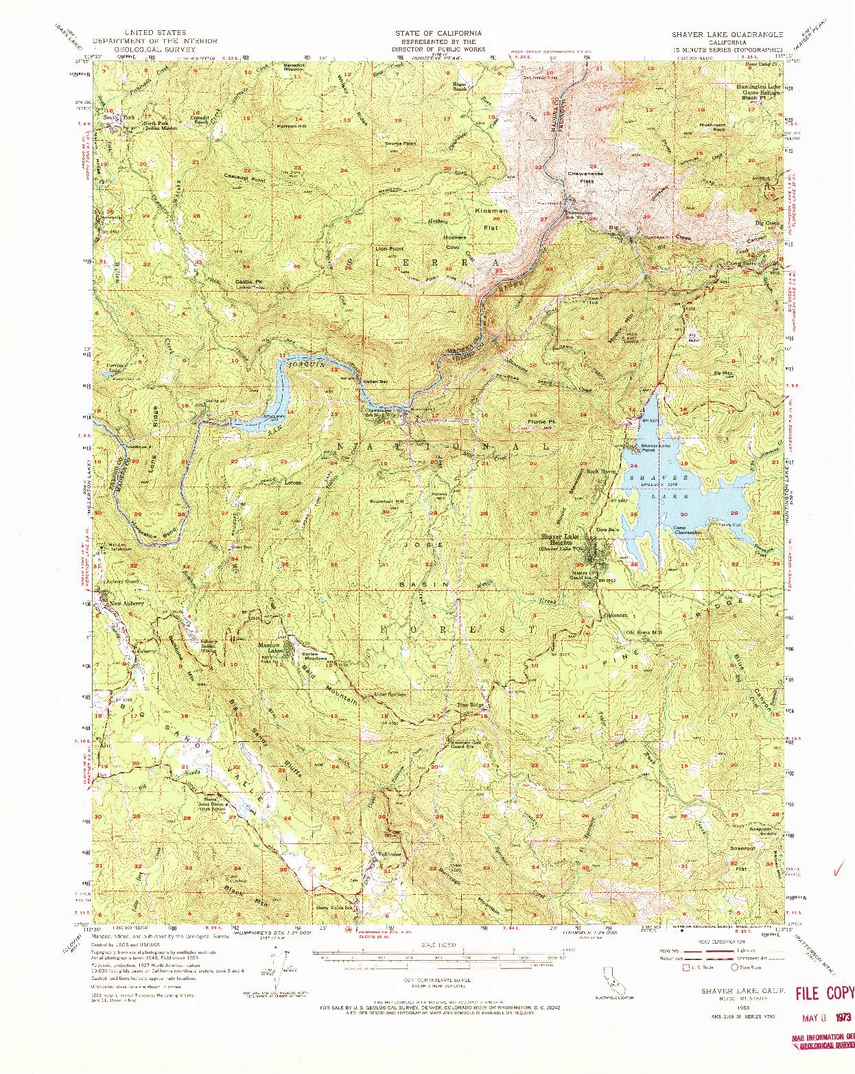 USGS 1:62500-SCALE QUADRANGLE FOR SHAVER LAKE, CA 1953
