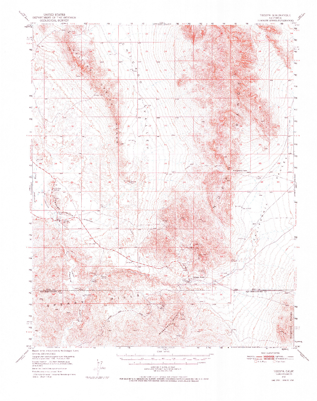 USGS 1:62500-SCALE QUADRANGLE FOR TECOPA, CA 1950