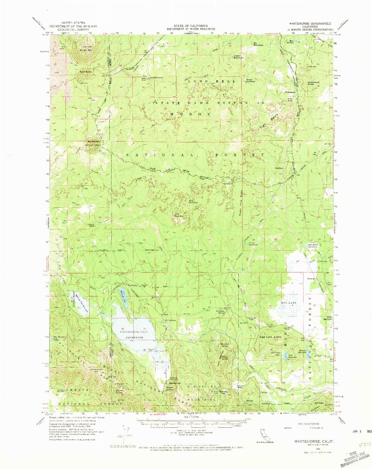USGS 1:62500-SCALE QUADRANGLE FOR WHITEHORSE, CA 1962
