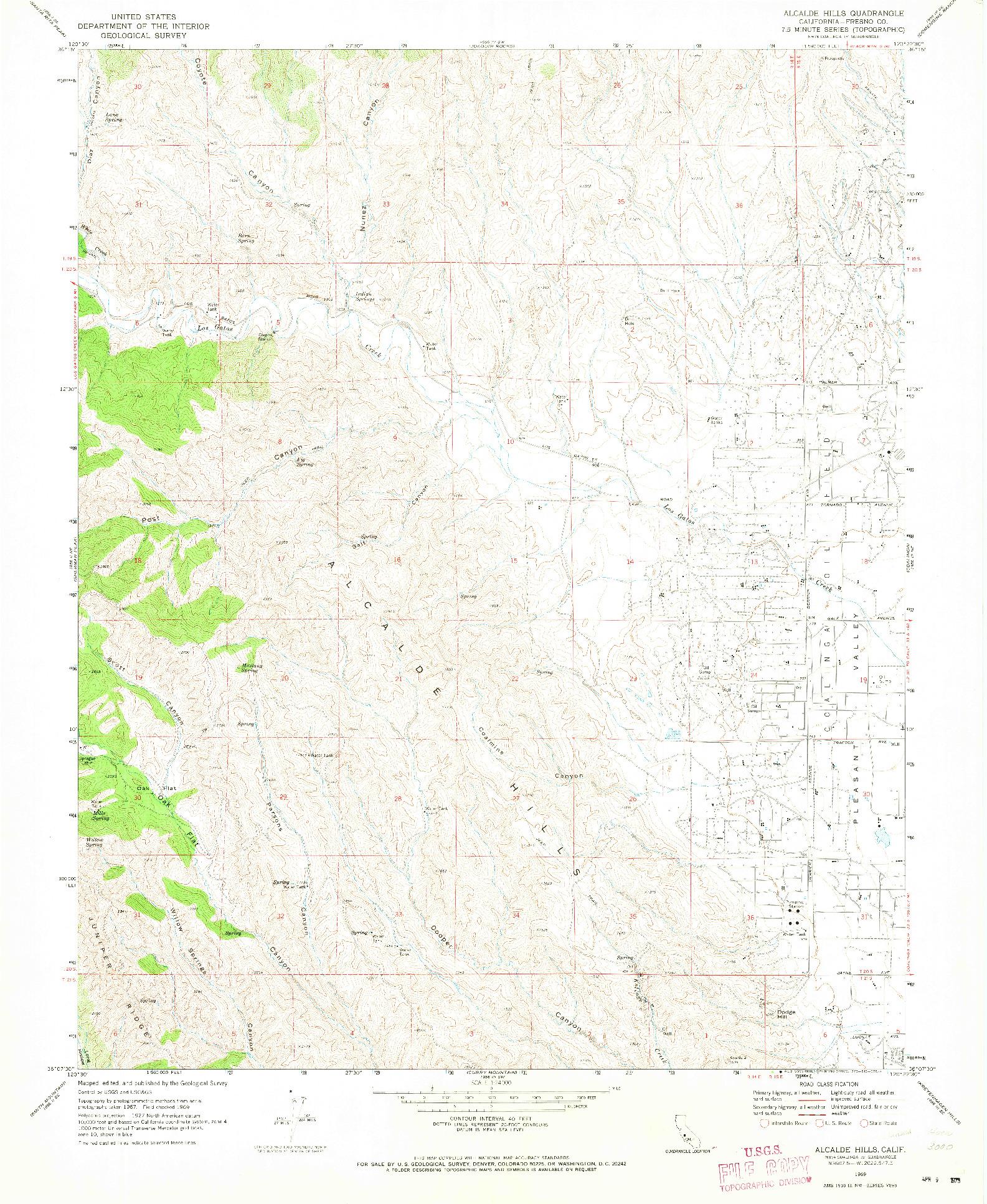 USGS 1:24000-SCALE QUADRANGLE FOR ALCALDE HILLS, CA 1969
