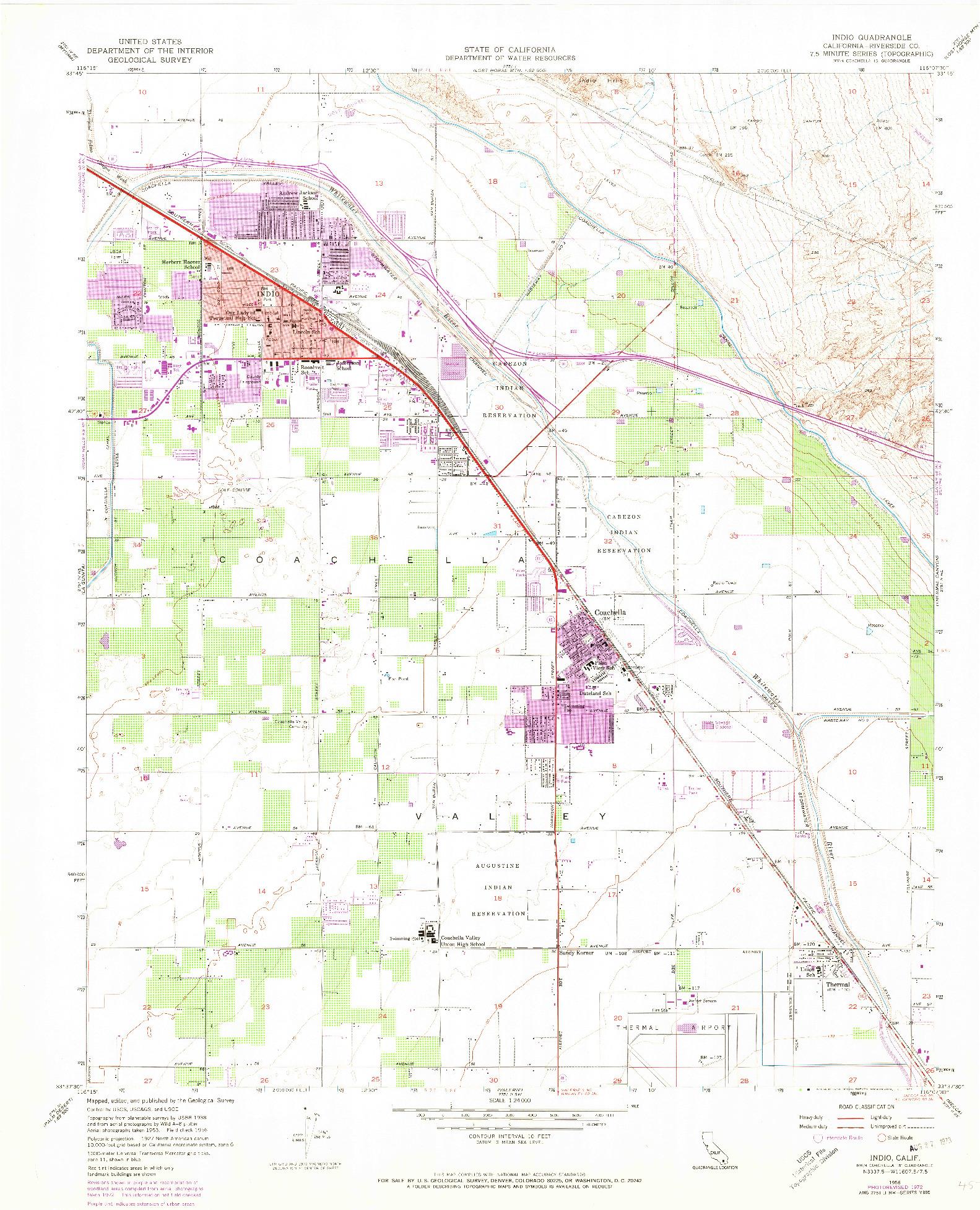 USGS 1:24000-SCALE QUADRANGLE FOR INDIO, CA 1956