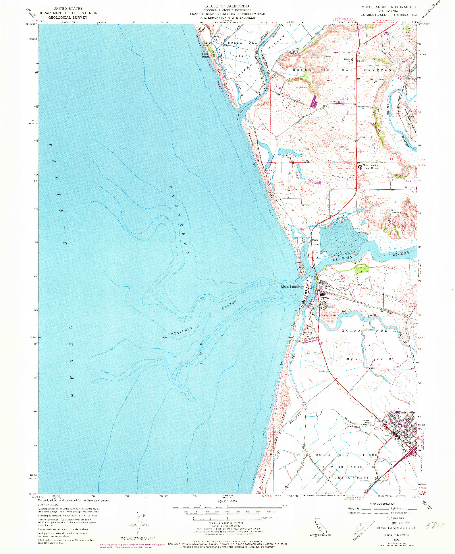 USGS 1:24000-SCALE QUADRANGLE FOR MOSS LANDING, CA 1954