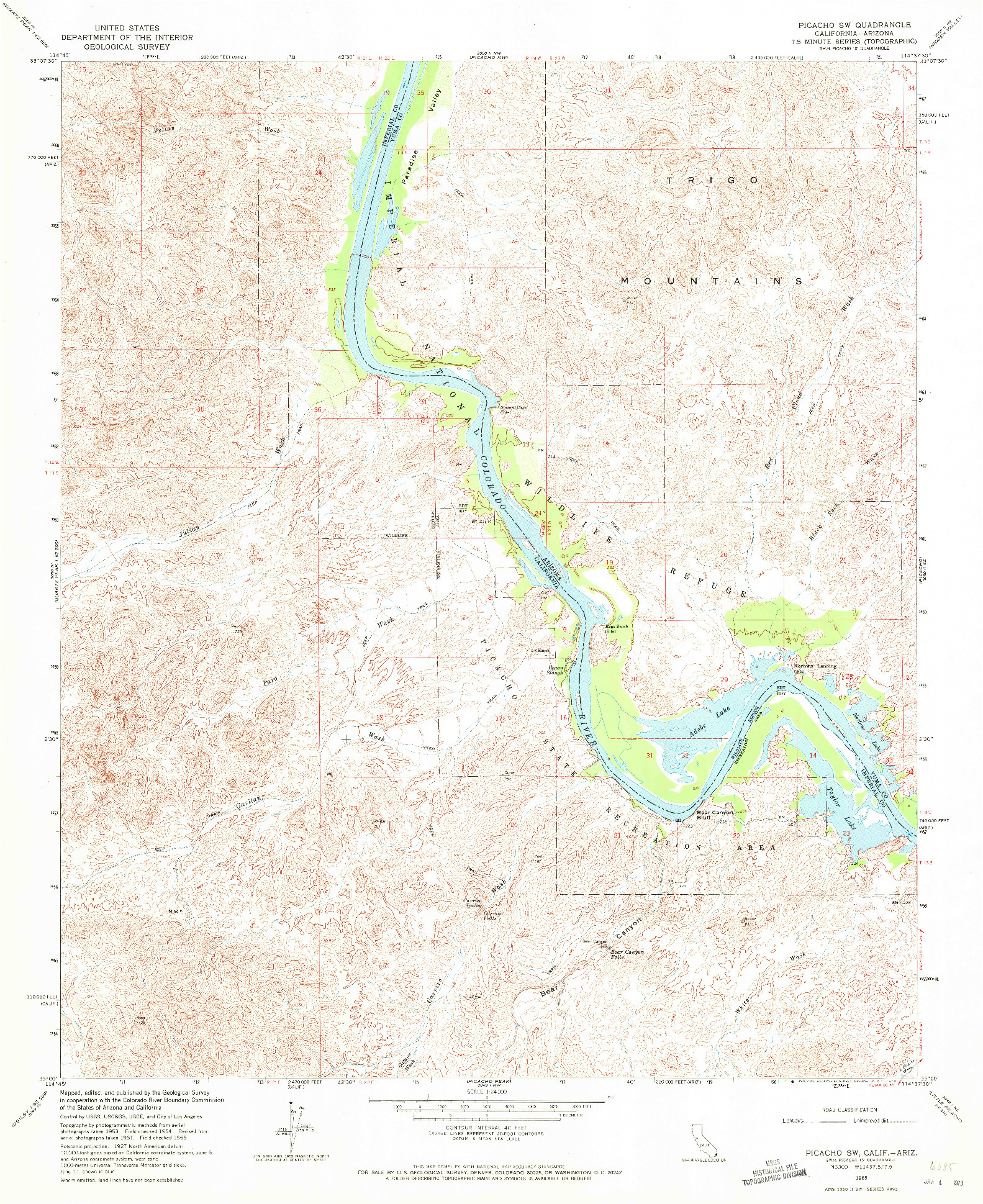 USGS 1:24000-SCALE QUADRANGLE FOR PICACHO SW, CA 1965