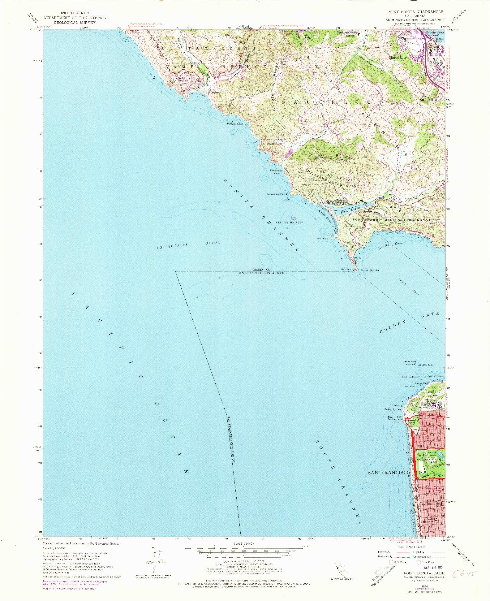 USGS 1:24000-SCALE QUADRANGLE FOR POINT BONITA, CA 1954