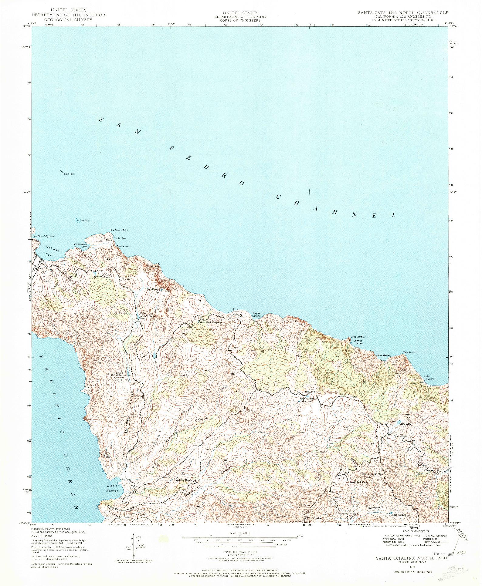 USGS 1:24000-SCALE QUADRANGLE FOR SANTA CATALINA NORTH, CA 1943