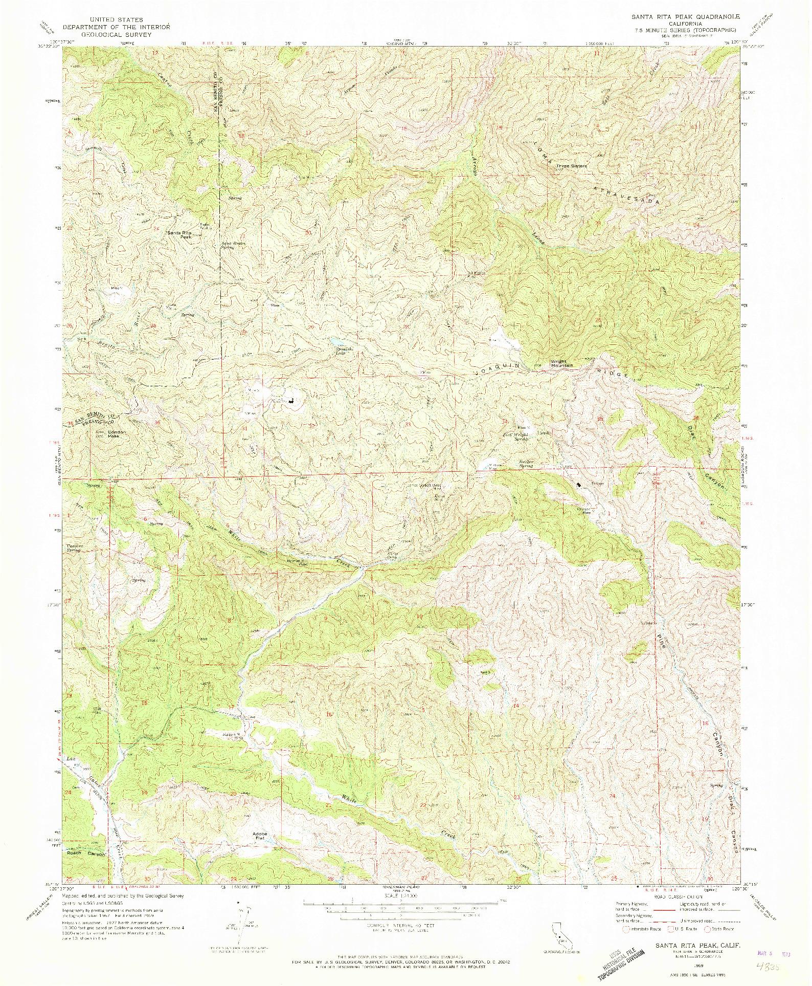 USGS 1:24000-SCALE QUADRANGLE FOR SANTA RITA PEAK, CA 1969