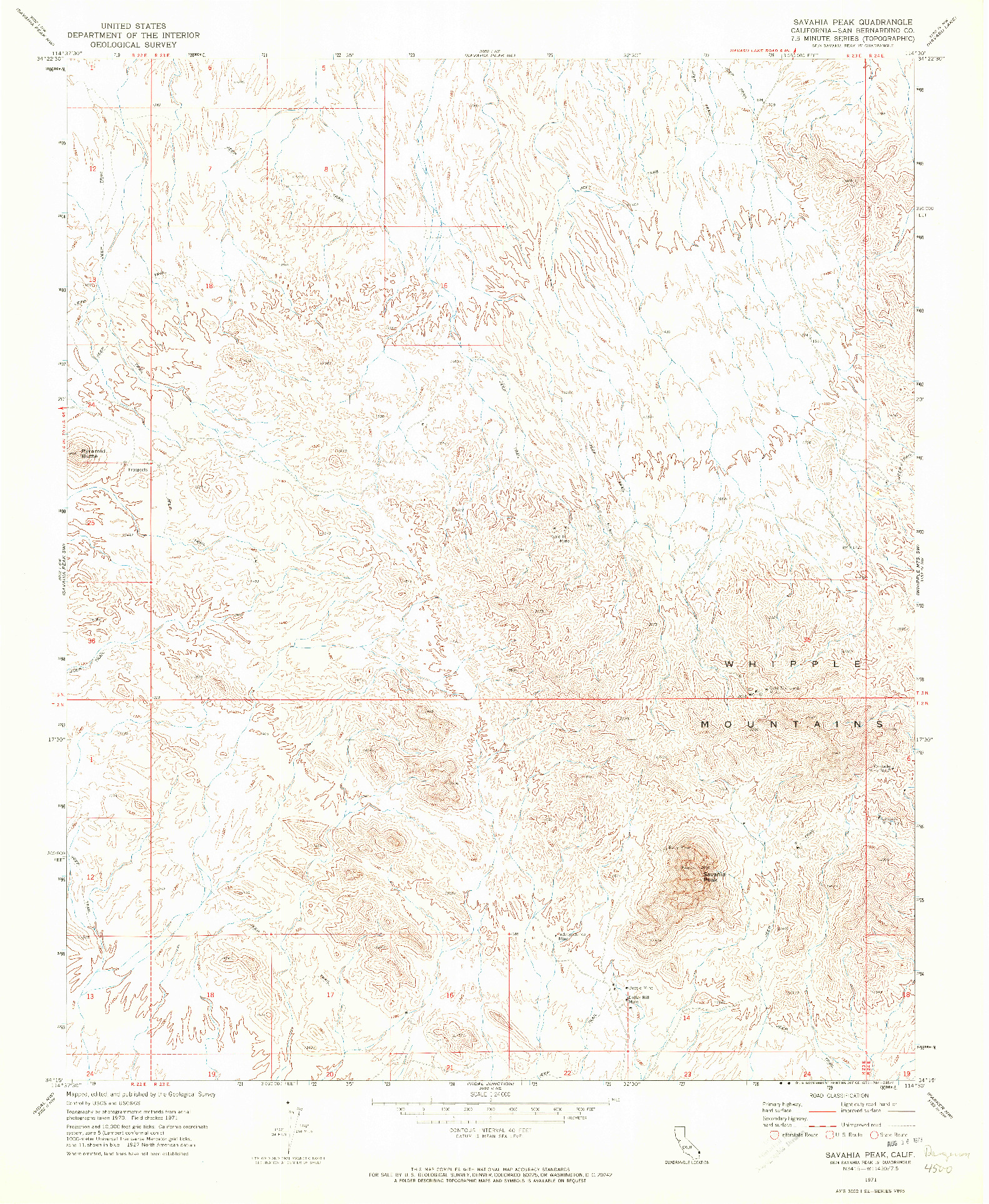 USGS 1:24000-SCALE QUADRANGLE FOR SAVAHIA PEAK, CA 1971