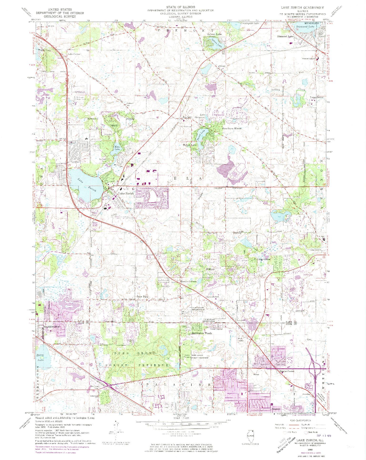 USGS 1:24000-SCALE QUADRANGLE FOR LAKE ZURICH, IL 1960