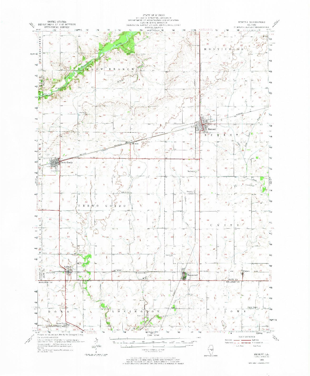 USGS 1:62500-SCALE QUADRANGLE FOR BEMENT, IL 1955