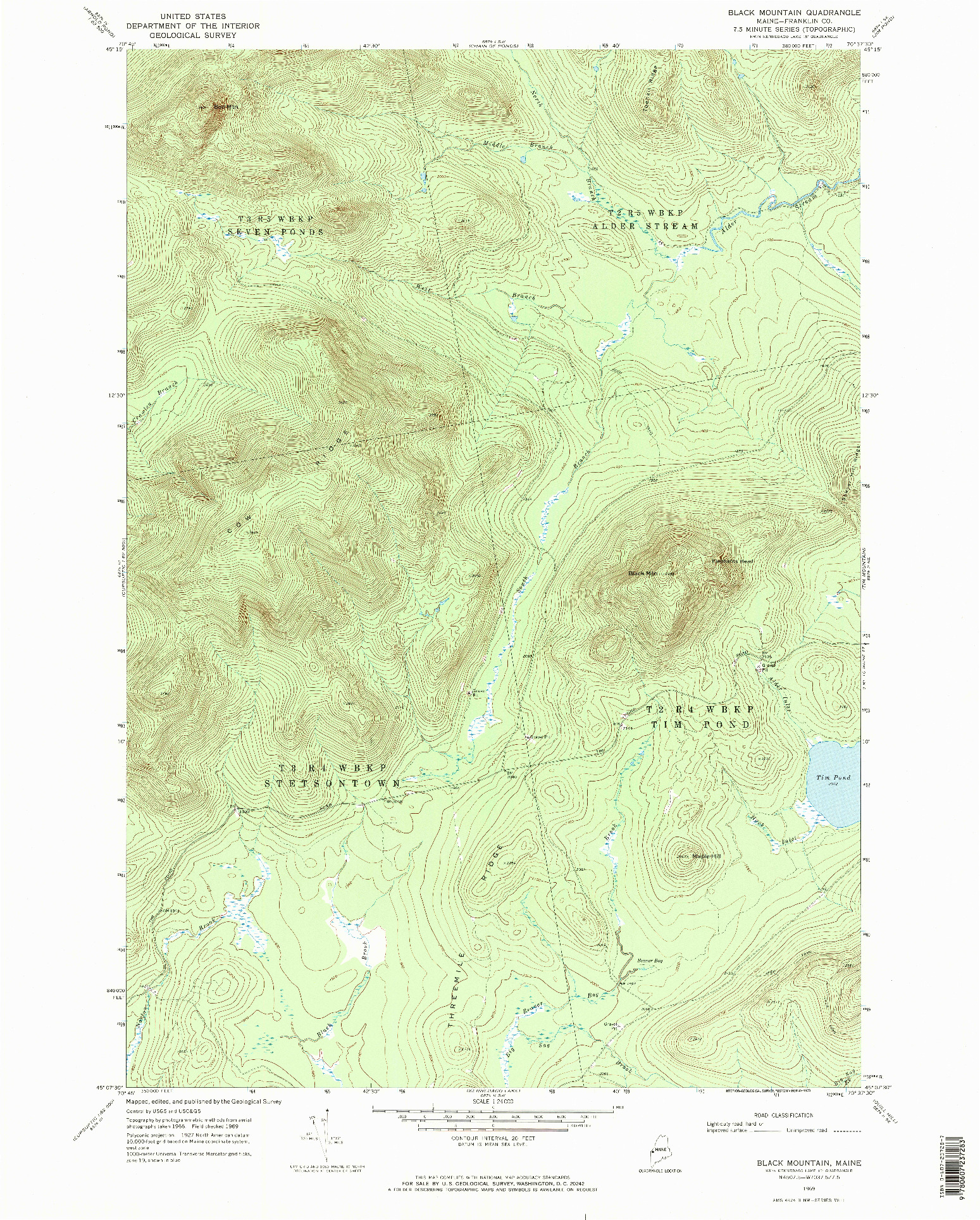 USGS 1:24000-SCALE QUADRANGLE FOR BLACK MOUNTAIN, ME 1969