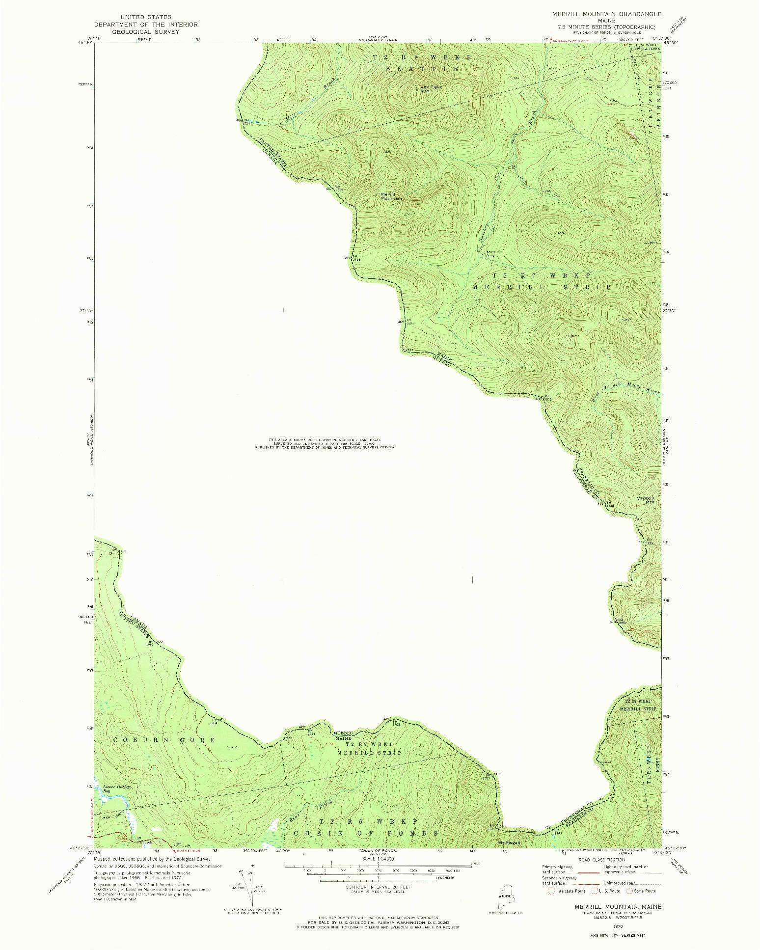 USGS 1:24000-SCALE QUADRANGLE FOR MERRILL MOUNTAIN, ME 1970
