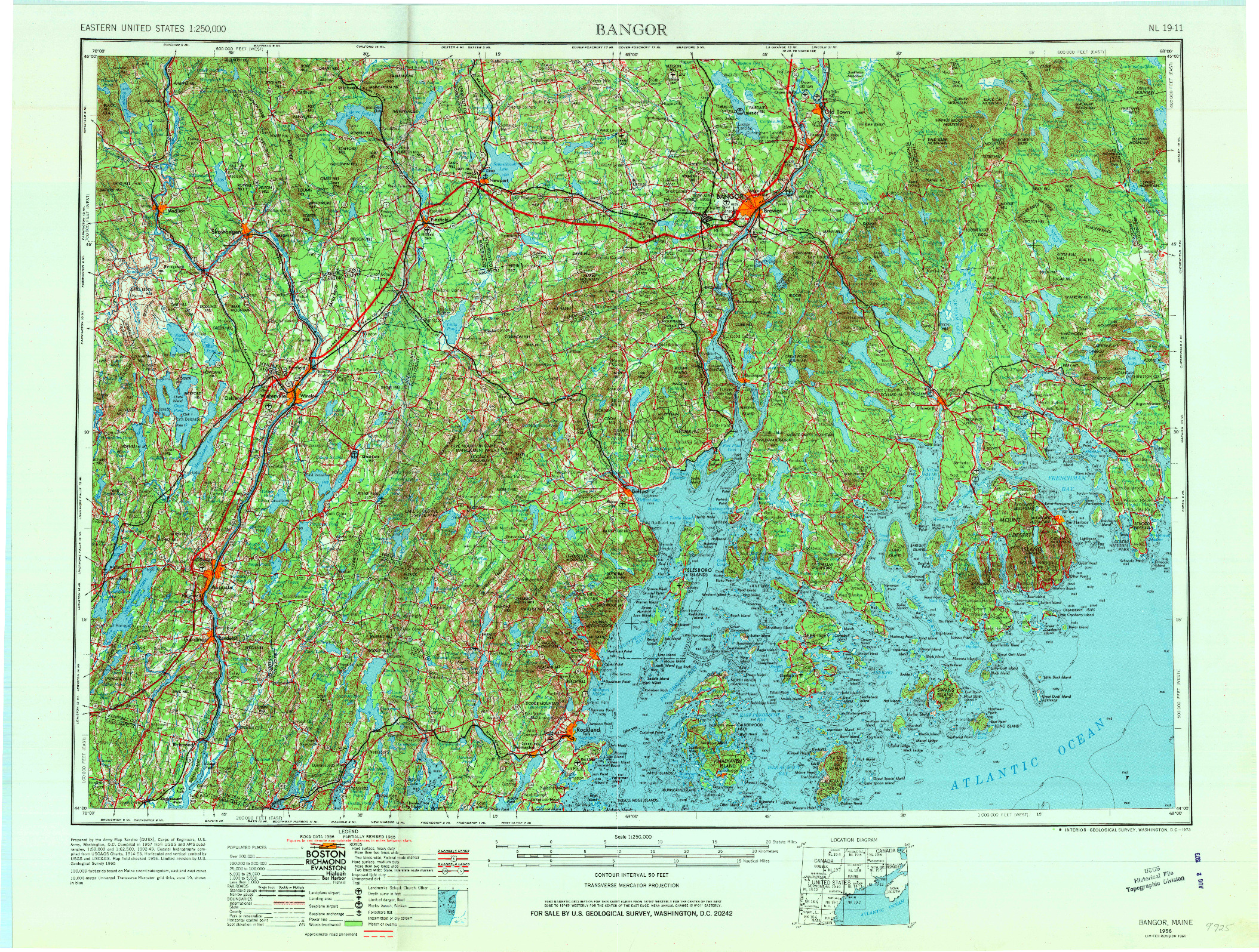 USGS 1:250000-SCALE QUADRANGLE FOR BANGOR, ME 1956