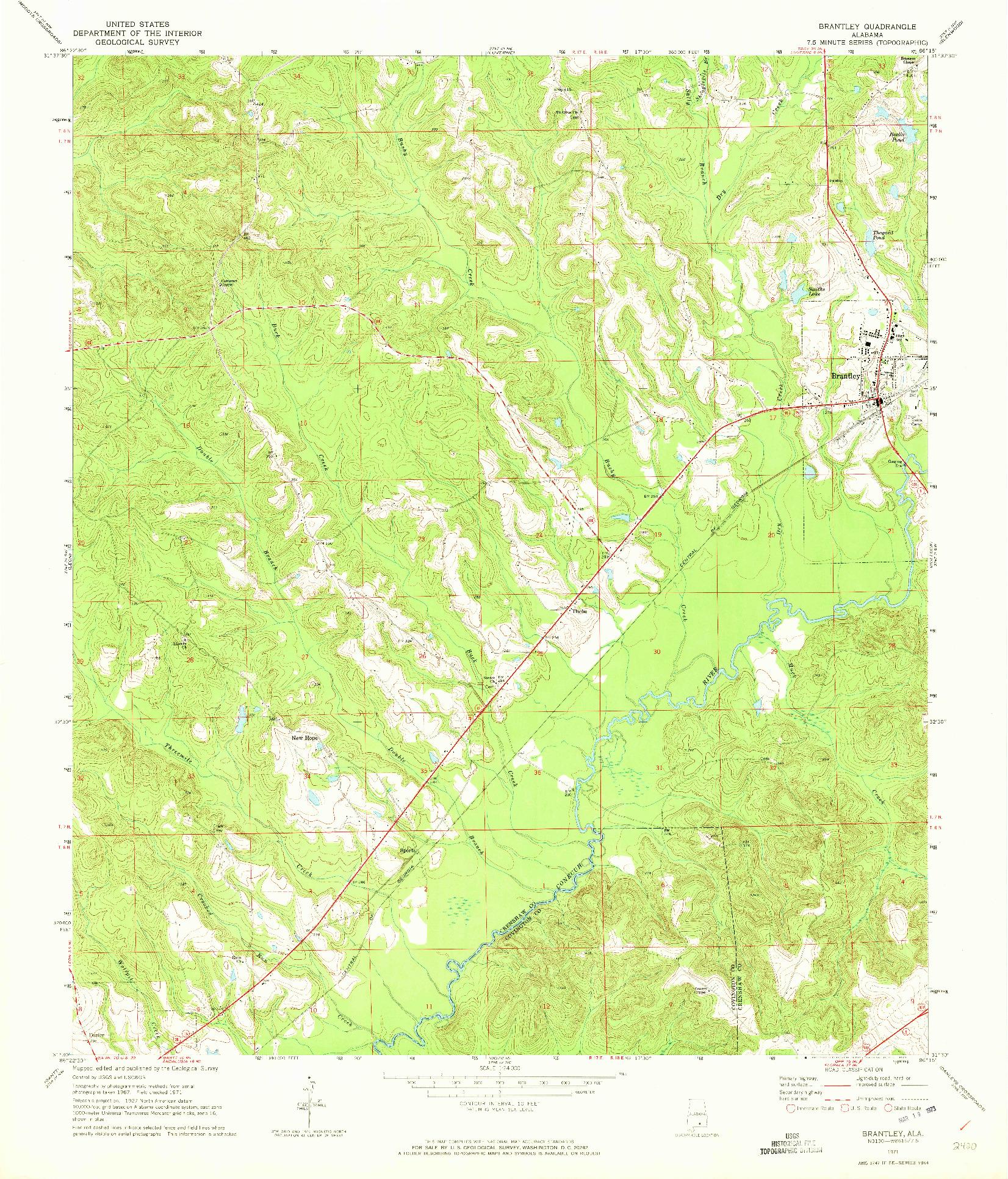 USGS 1:24000-SCALE QUADRANGLE FOR BRANTLEY, AL 1971