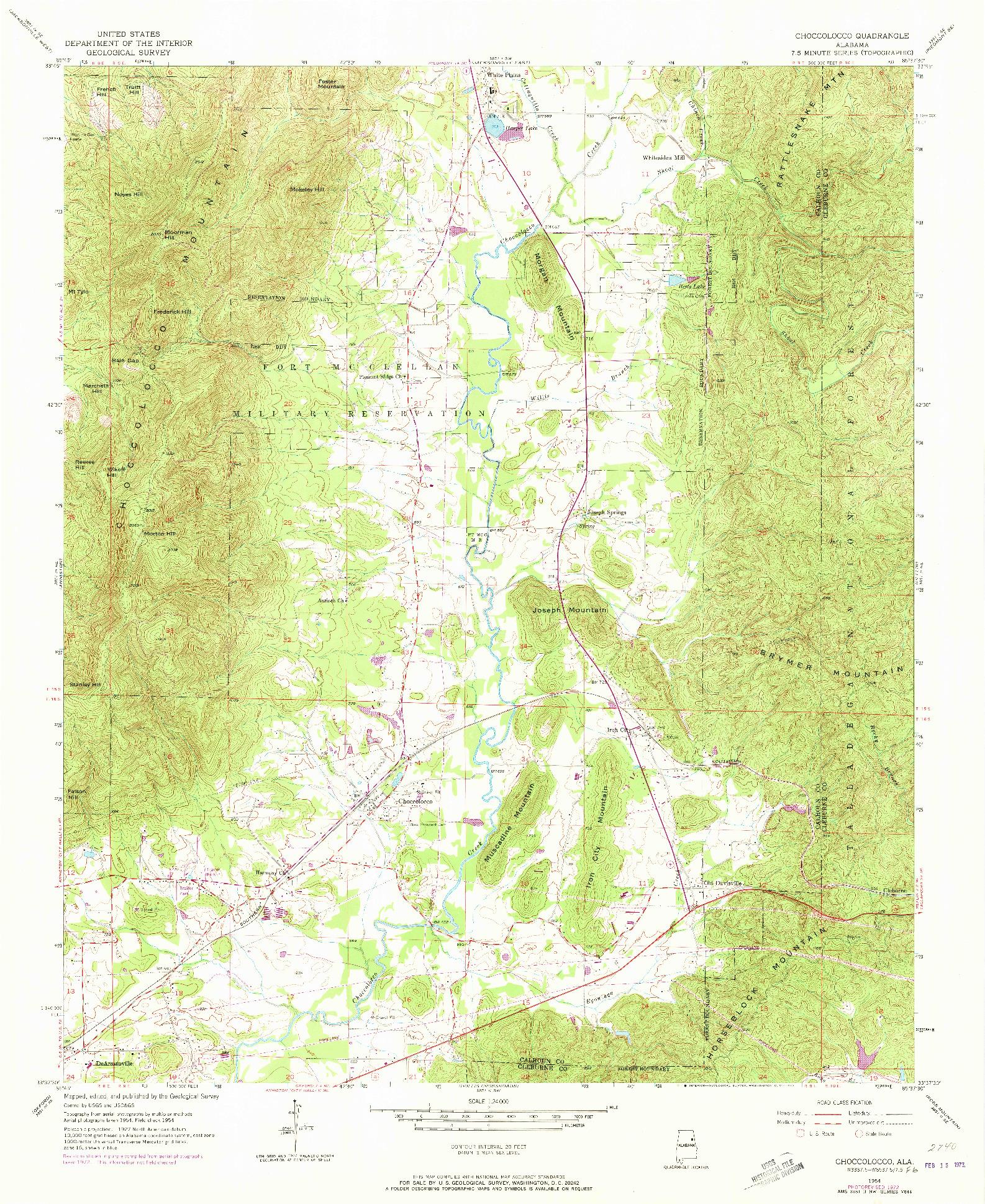 USGS 1:24000-SCALE QUADRANGLE FOR CHOCCOLOCCO, AL 1954