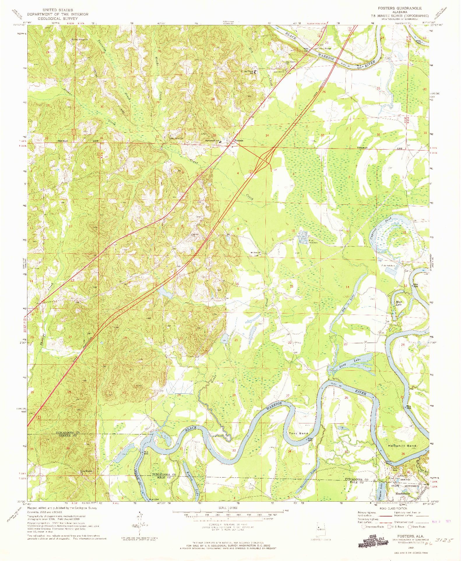 USGS 1:24000-SCALE QUADRANGLE FOR FOSTERS, AL 1969