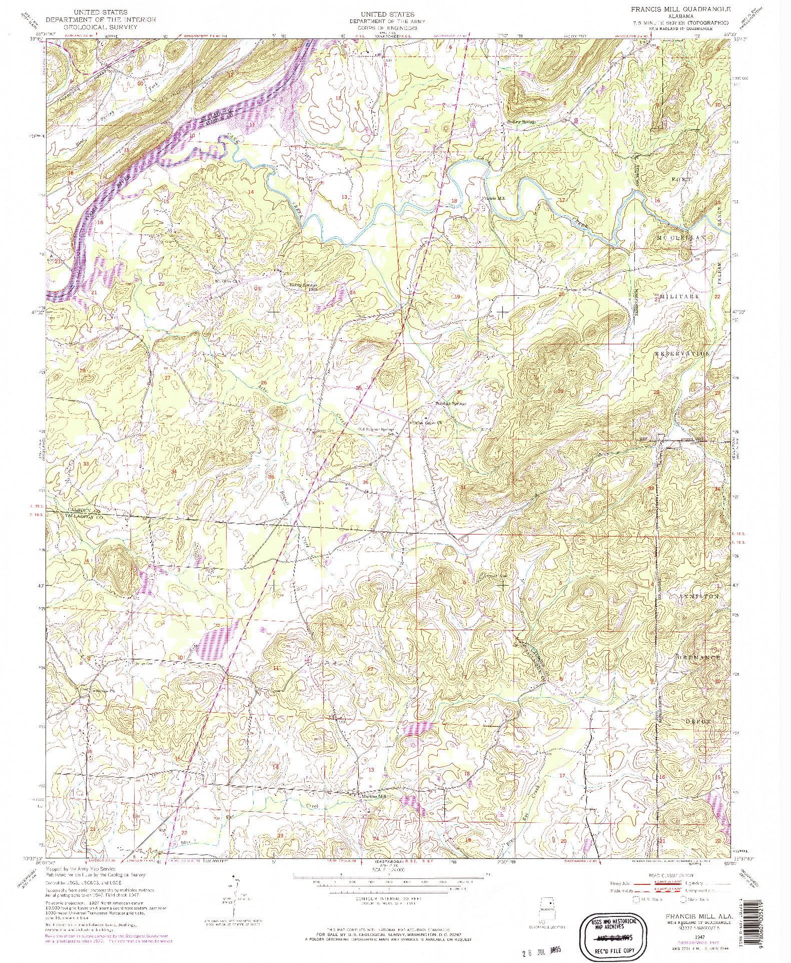 USGS 1:24000-SCALE QUADRANGLE FOR FRANCIS MILL, AL 1947