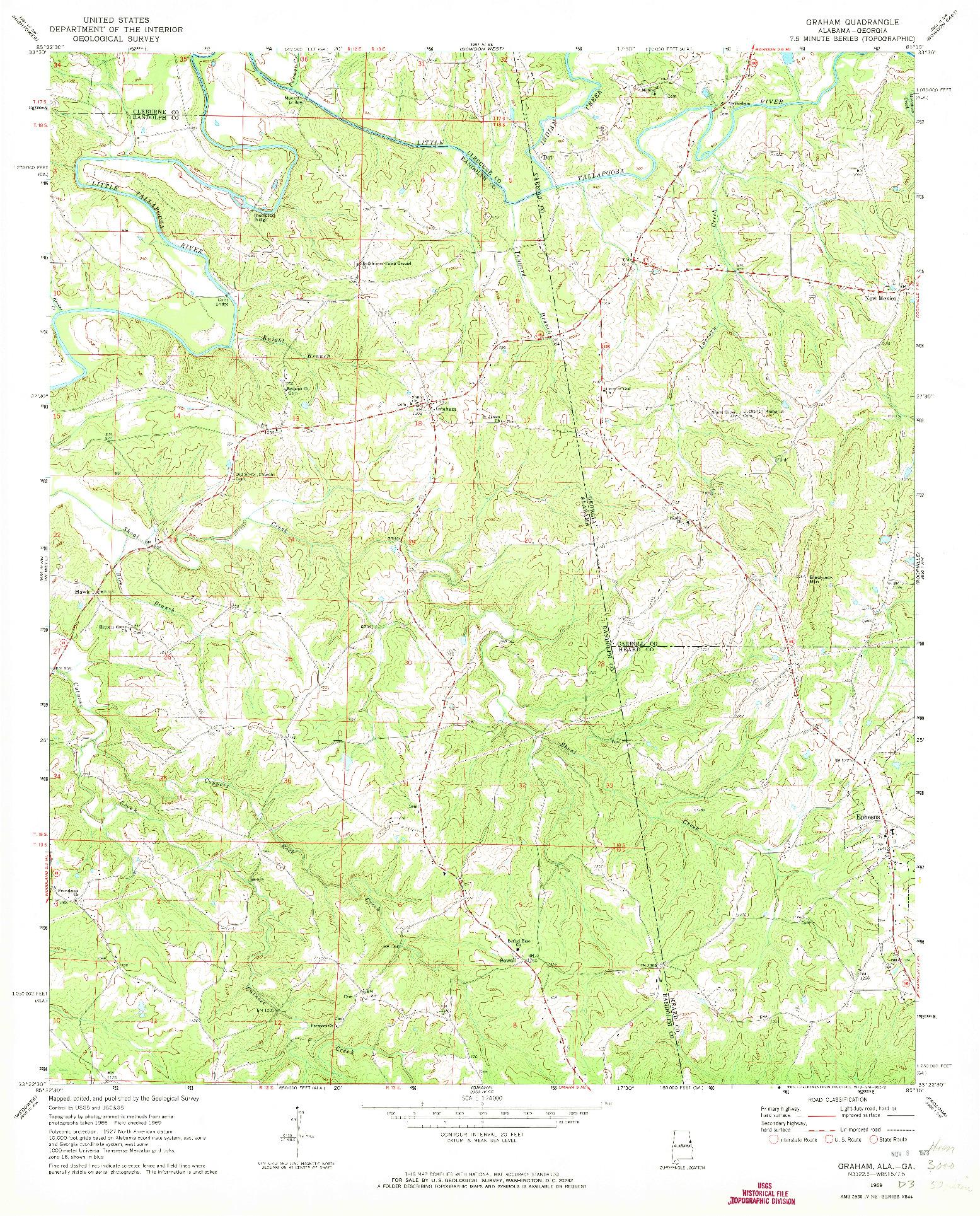 USGS 1:24000-SCALE QUADRANGLE FOR GRAHAM, AL 1969