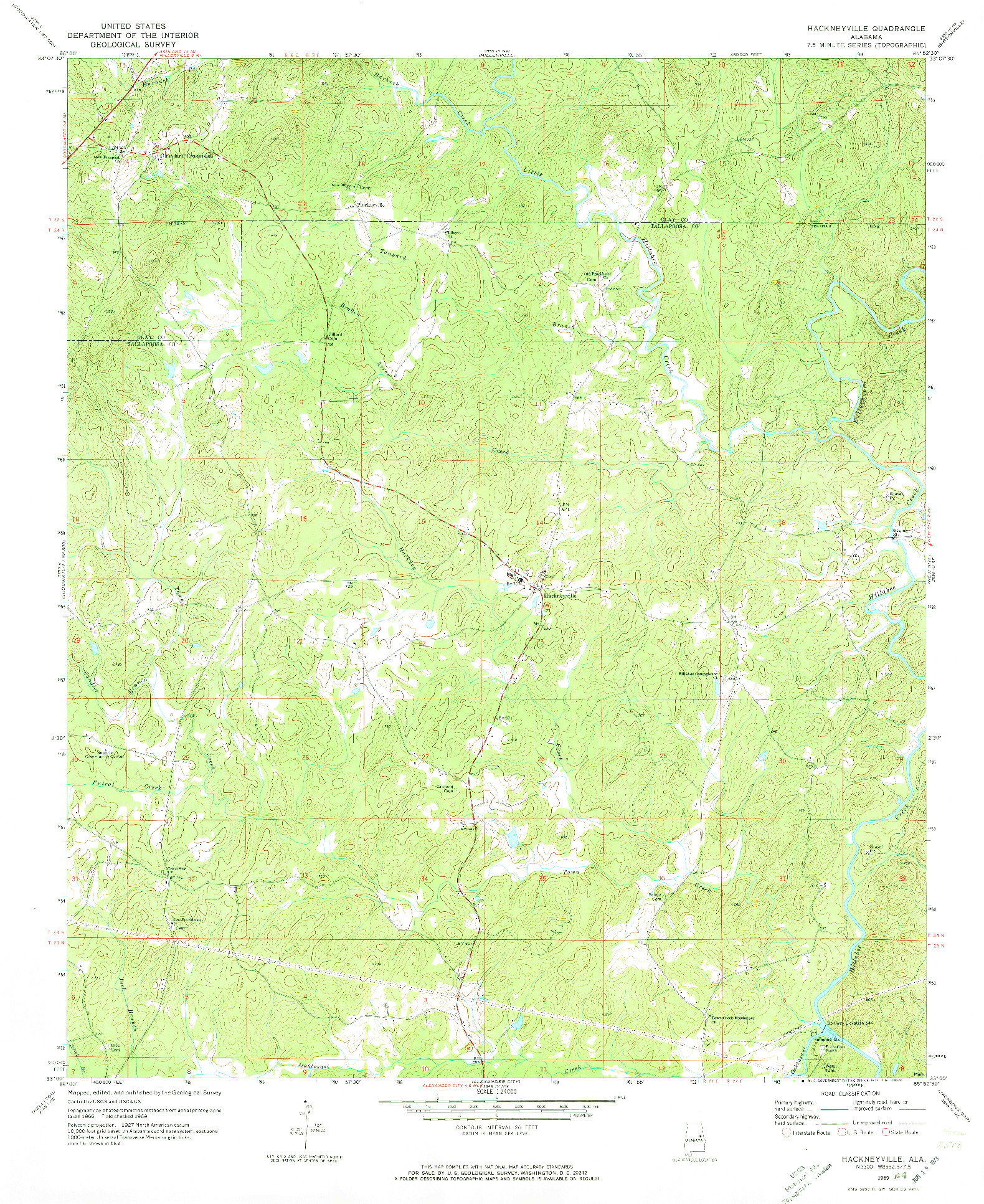 USGS 1:24000-SCALE QUADRANGLE FOR HACKNEYVILLE, AL 1969