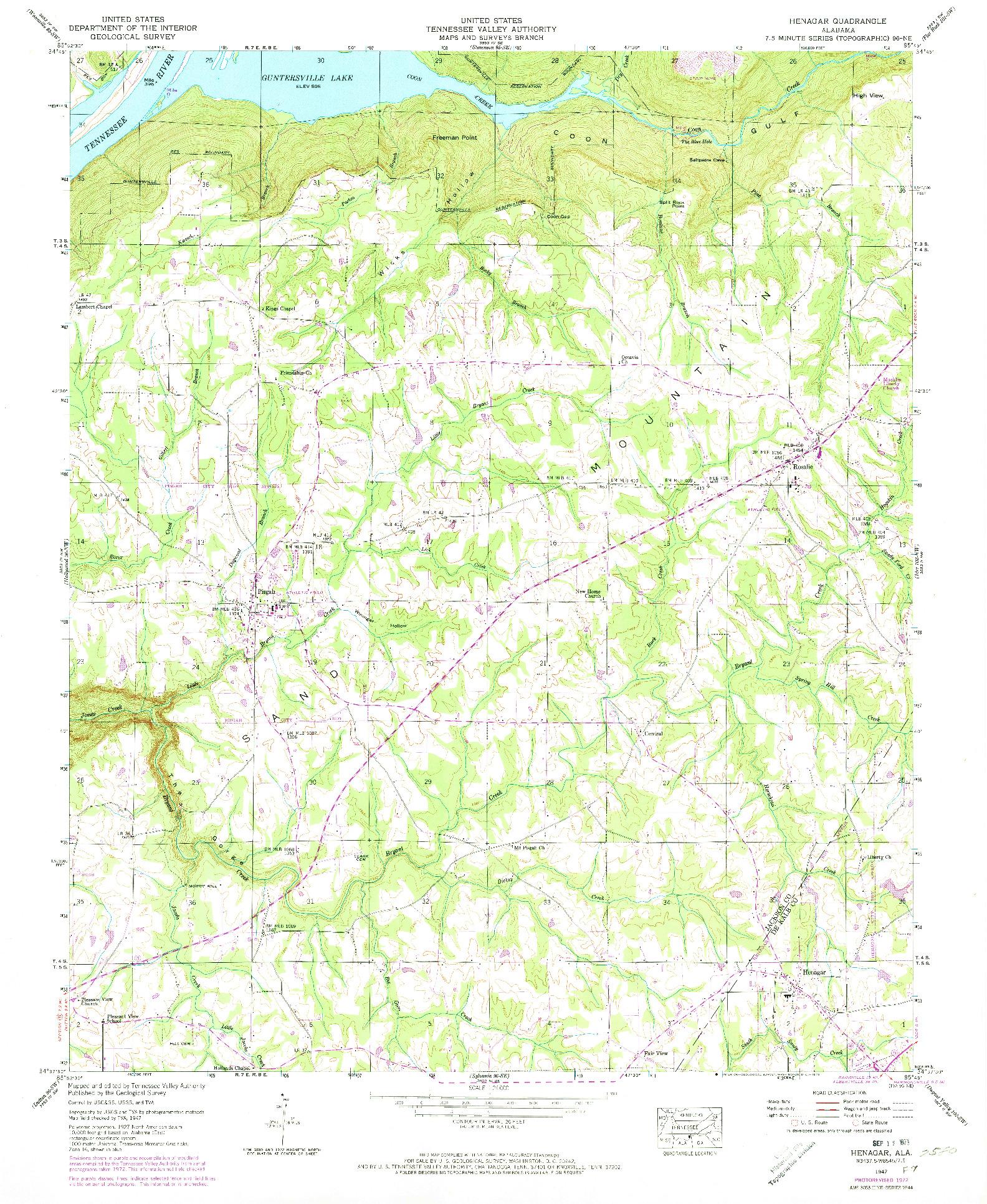 USGS 1:24000-SCALE QUADRANGLE FOR HENAGAR, AL 1947