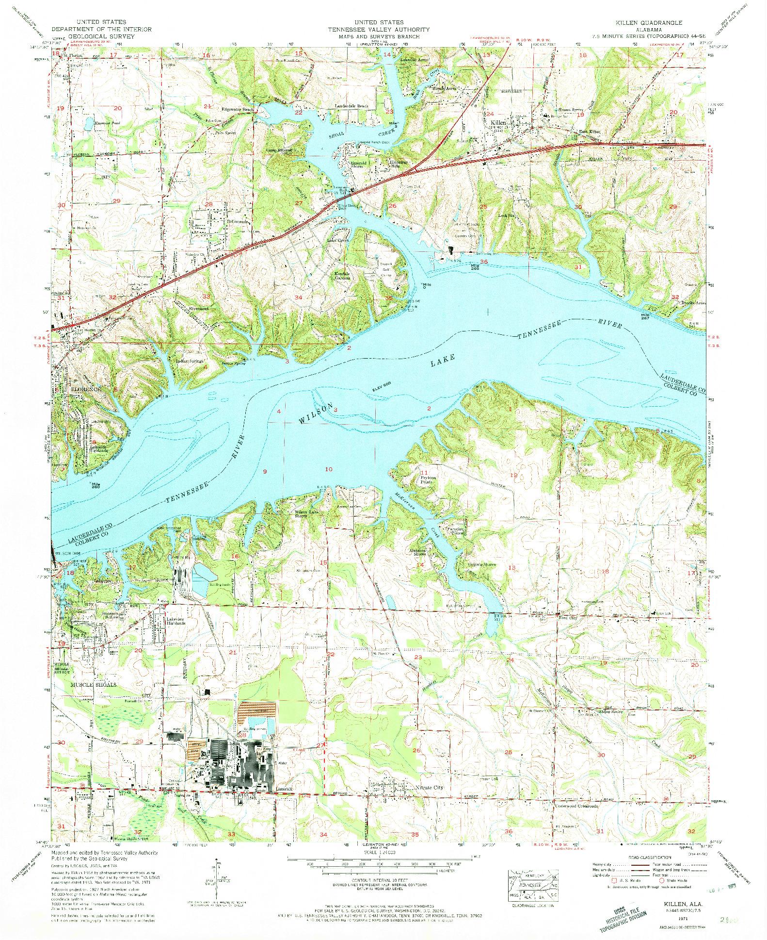 USGS 1:24000-SCALE QUADRANGLE FOR KILLEN, AL 1971