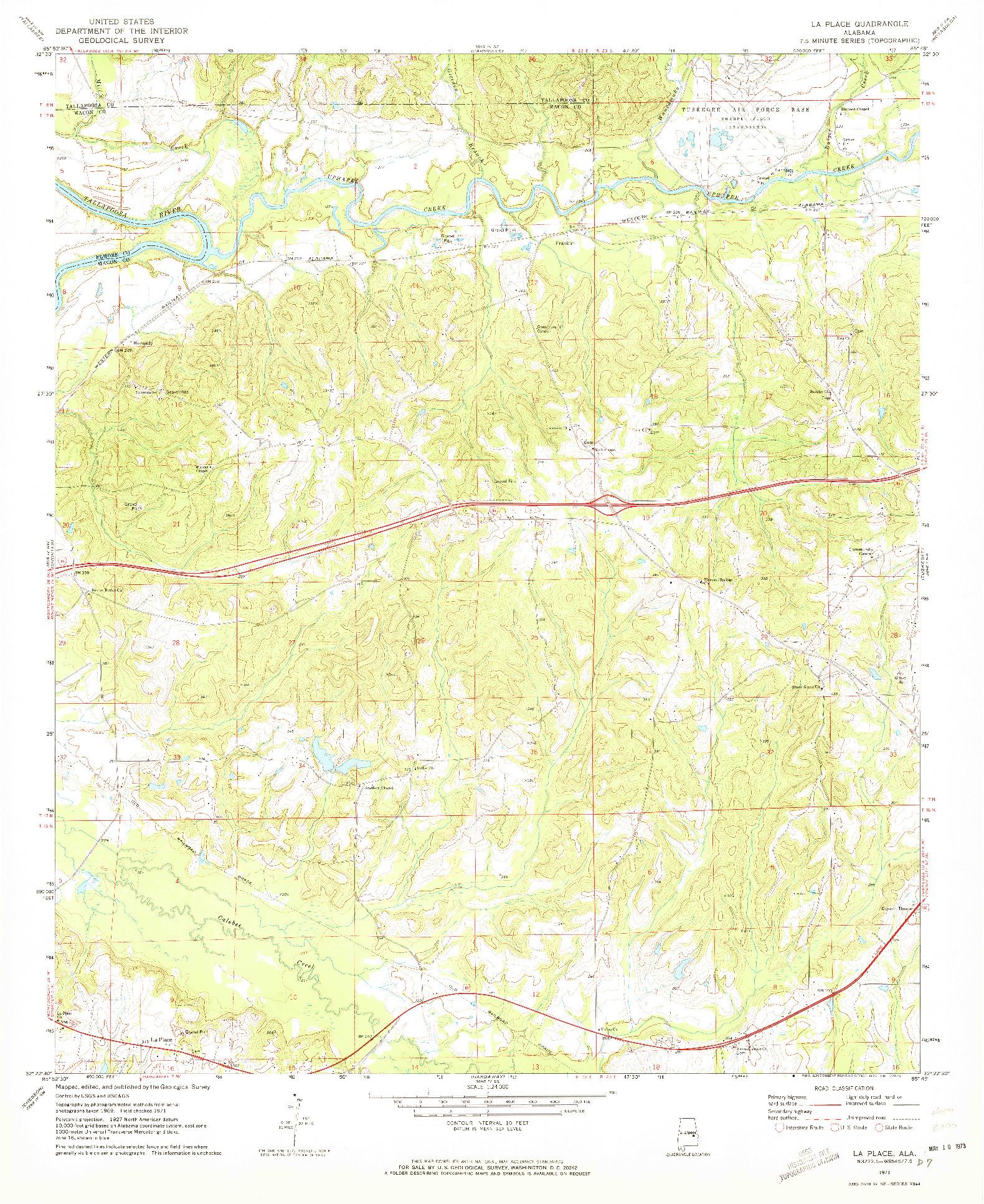 USGS 1:24000-SCALE QUADRANGLE FOR LA PLACE, AL 1971