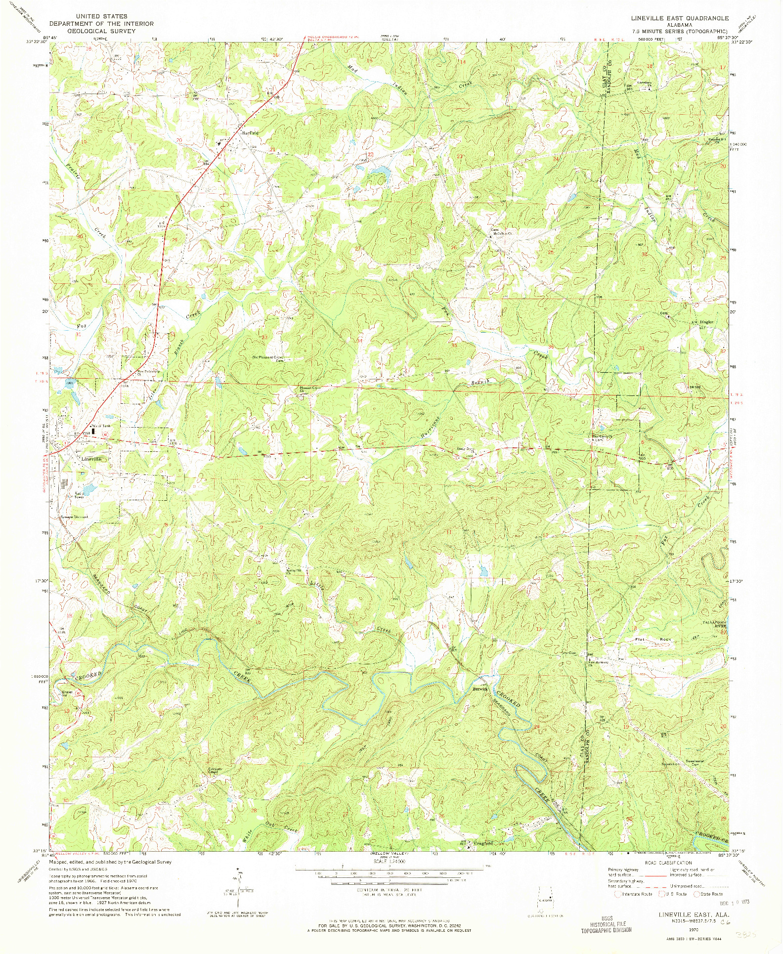 USGS 1:24000-SCALE QUADRANGLE FOR LINEVILLE EAST, AL 1970