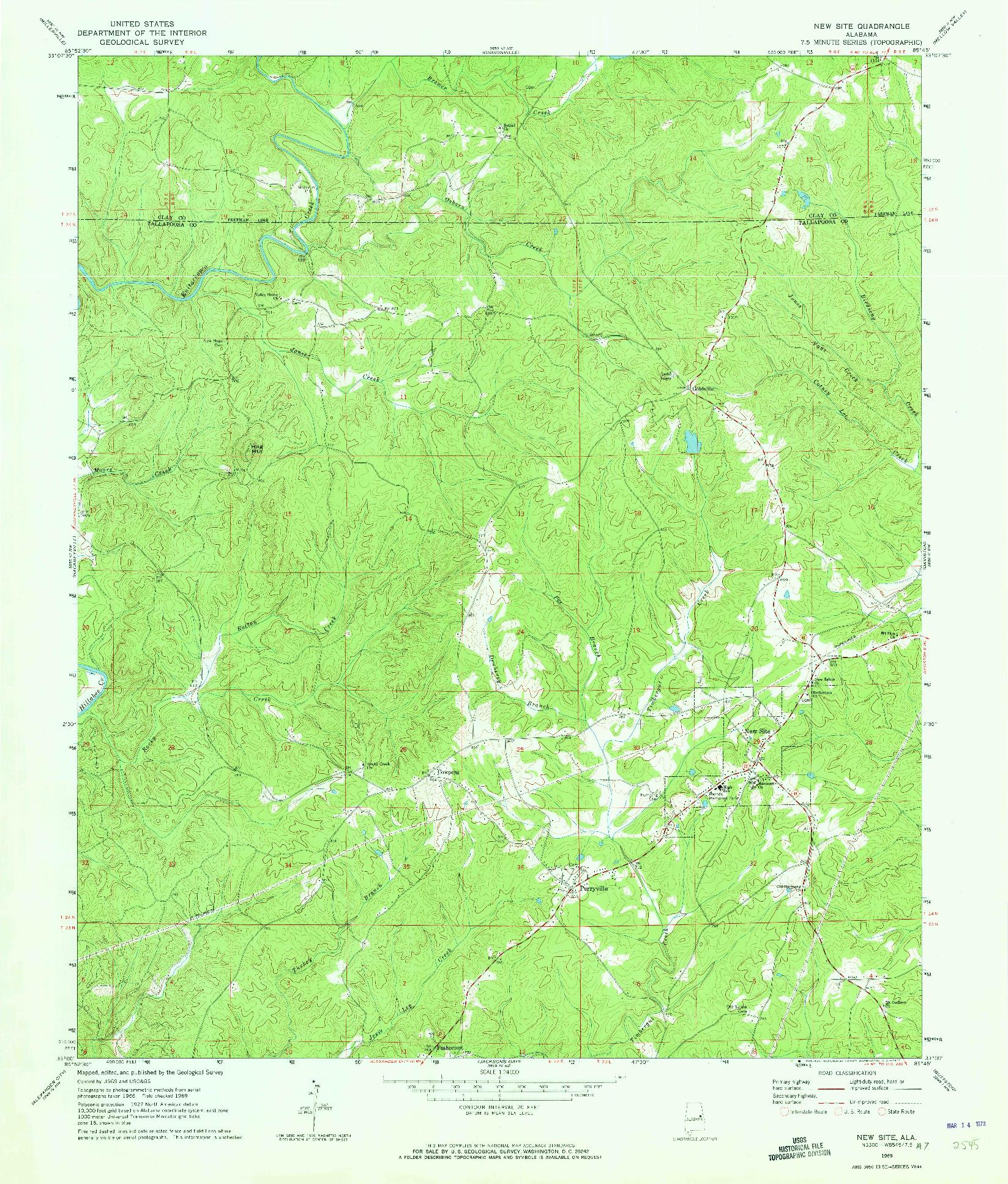 USGS 1:24000-SCALE QUADRANGLE FOR NEW SITE, AL 1969