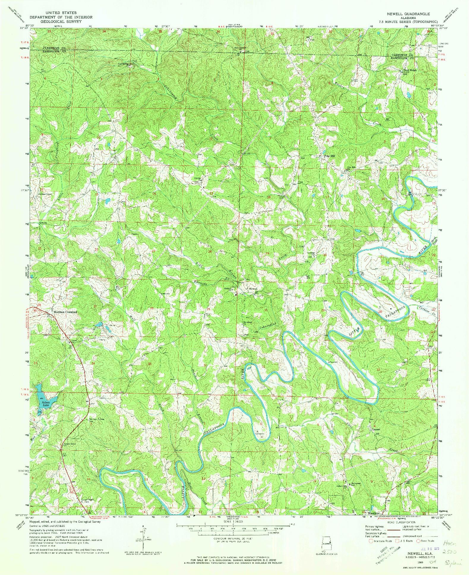 USGS 1:24000-SCALE QUADRANGLE FOR NEWELL, AL 1969