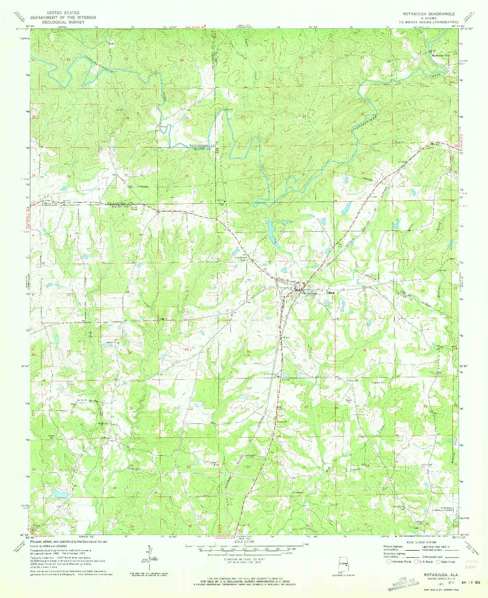 USGS 1:24000-SCALE QUADRANGLE FOR NOTASULGA, AL 1971