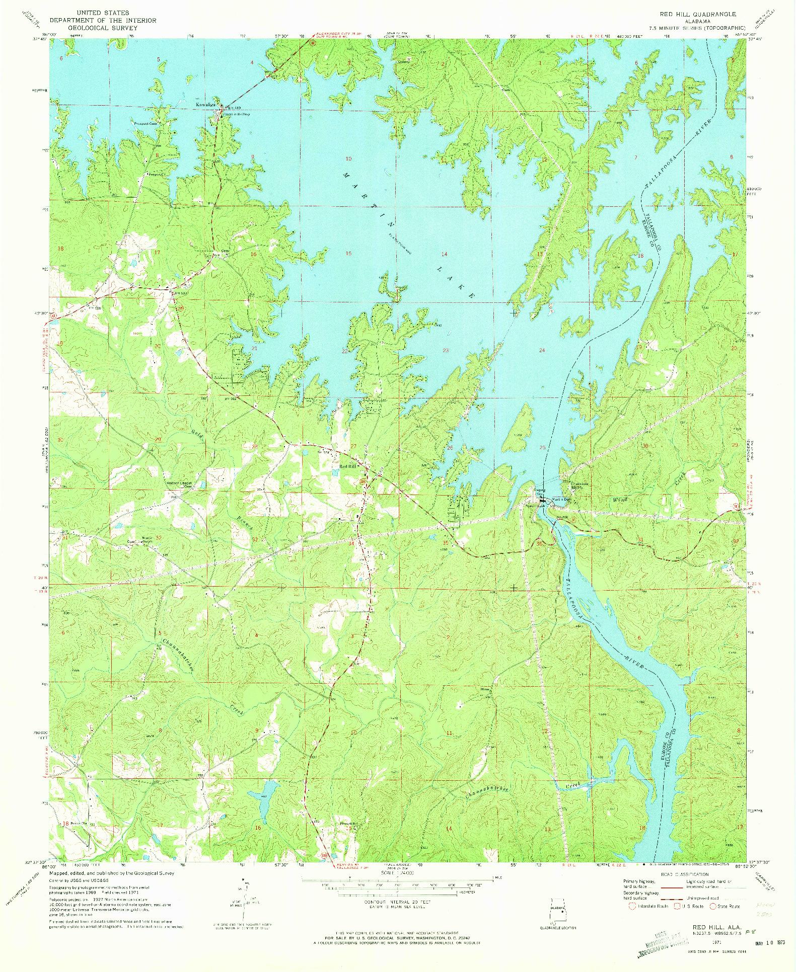 USGS 1:24000-SCALE QUADRANGLE FOR RED HILL, AL 1971