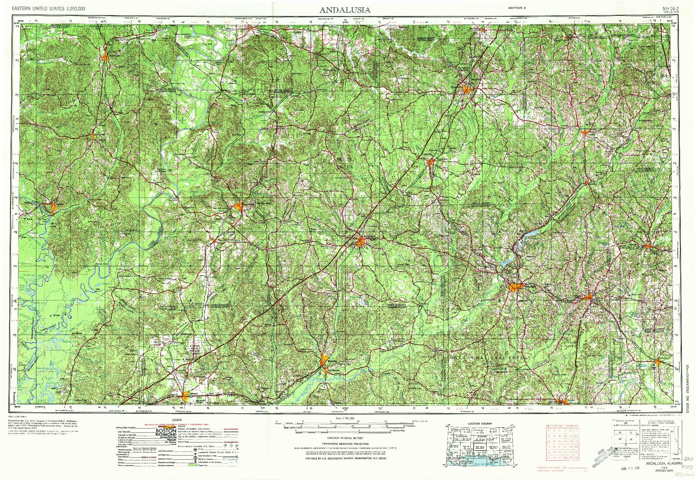 USGS 1:250000-SCALE QUADRANGLE FOR ANDALUSIA, AL 1953