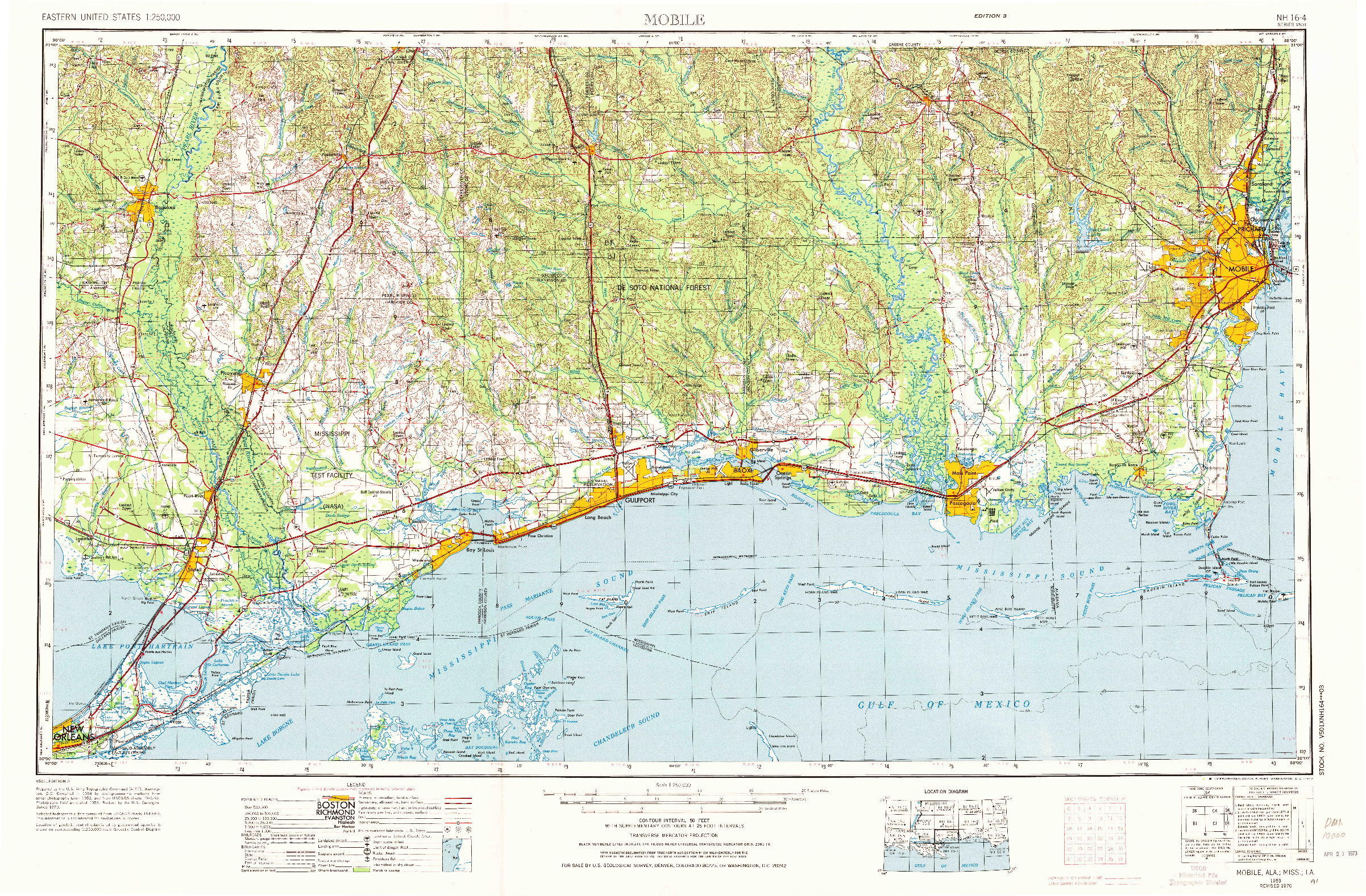 USGS 1:250000-SCALE QUADRANGLE FOR MOBILE, AL 1953