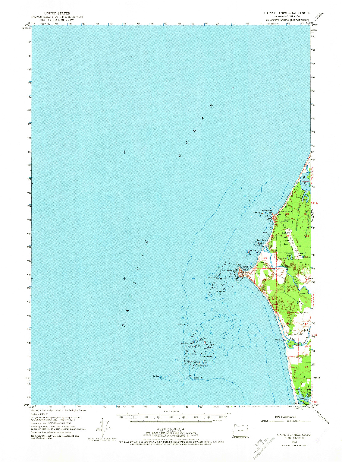USGS 1:62500-SCALE QUADRANGLE FOR CAPE BLANCO, OR 1954