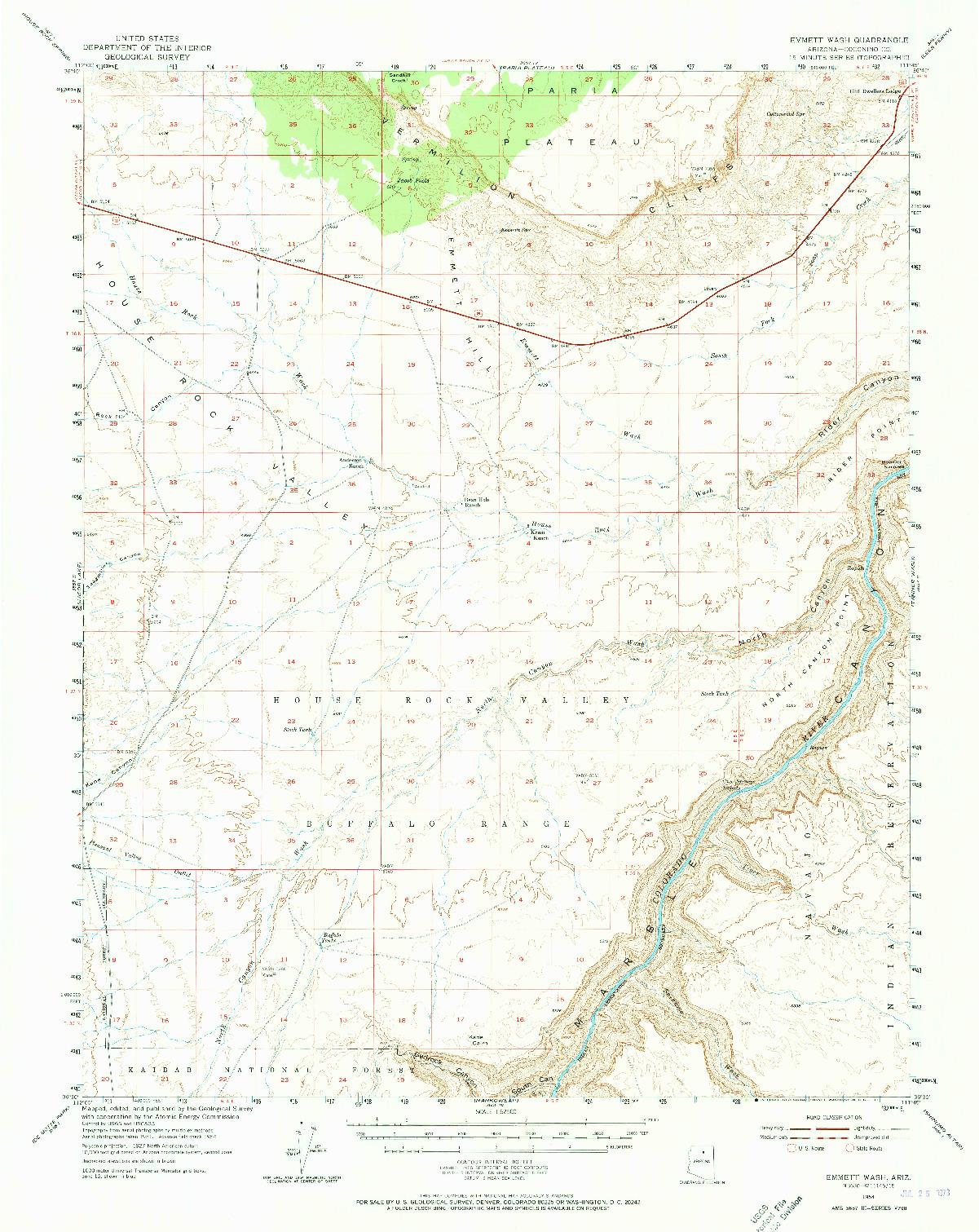 USGS 1:62500-SCALE QUADRANGLE FOR EMMETT WASH, AZ 1954
