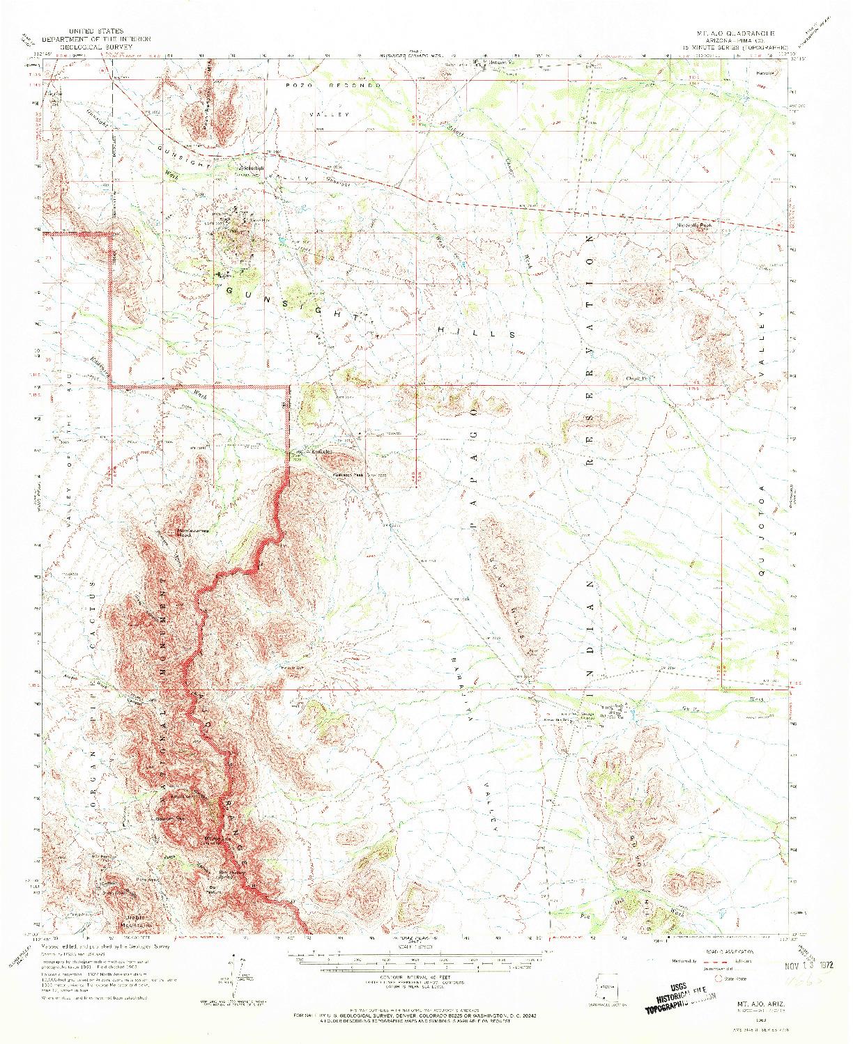 USGS 1:62500-SCALE QUADRANGLE FOR MT. AJO, AZ 1963