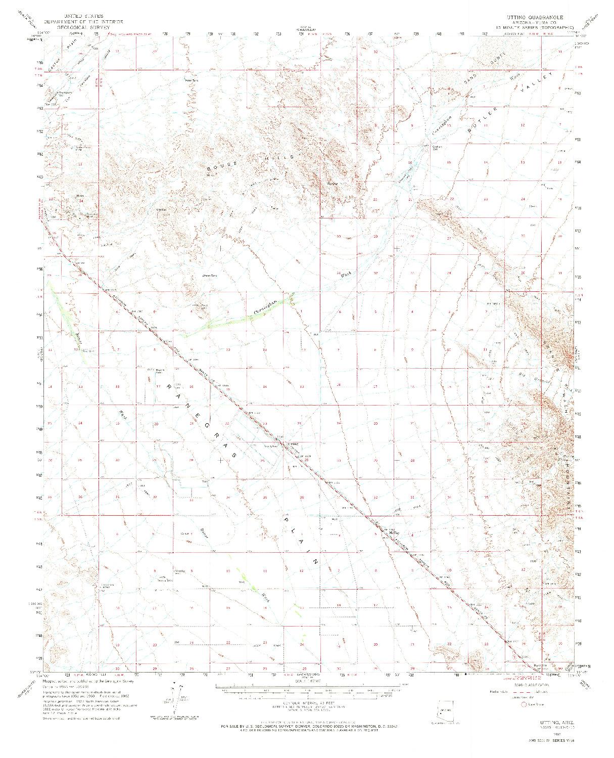 USGS 1:62500-SCALE QUADRANGLE FOR UTTING, AZ 1962