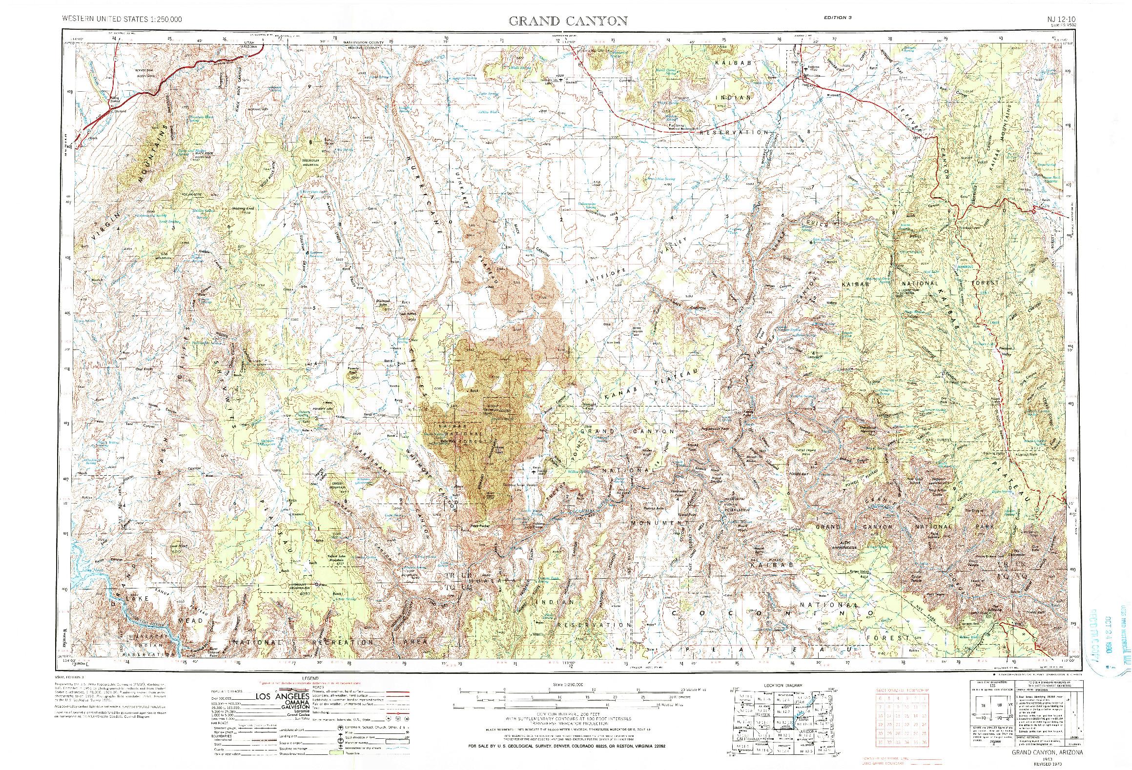 USGS 1:250000-SCALE QUADRANGLE FOR GRAND CANYON, AZ 1953