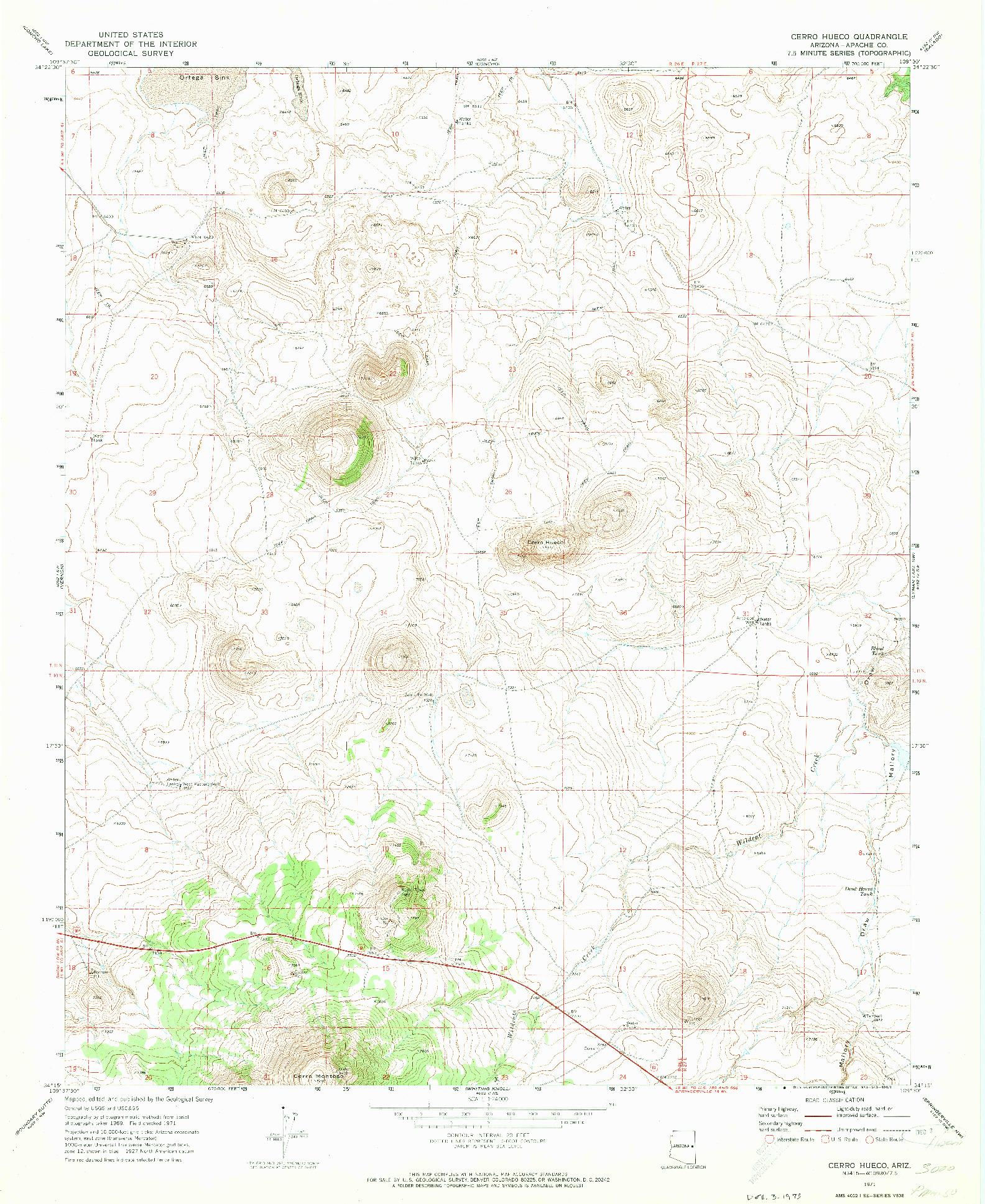USGS 1:24000-SCALE QUADRANGLE FOR CERRO HUECO, AZ 1971