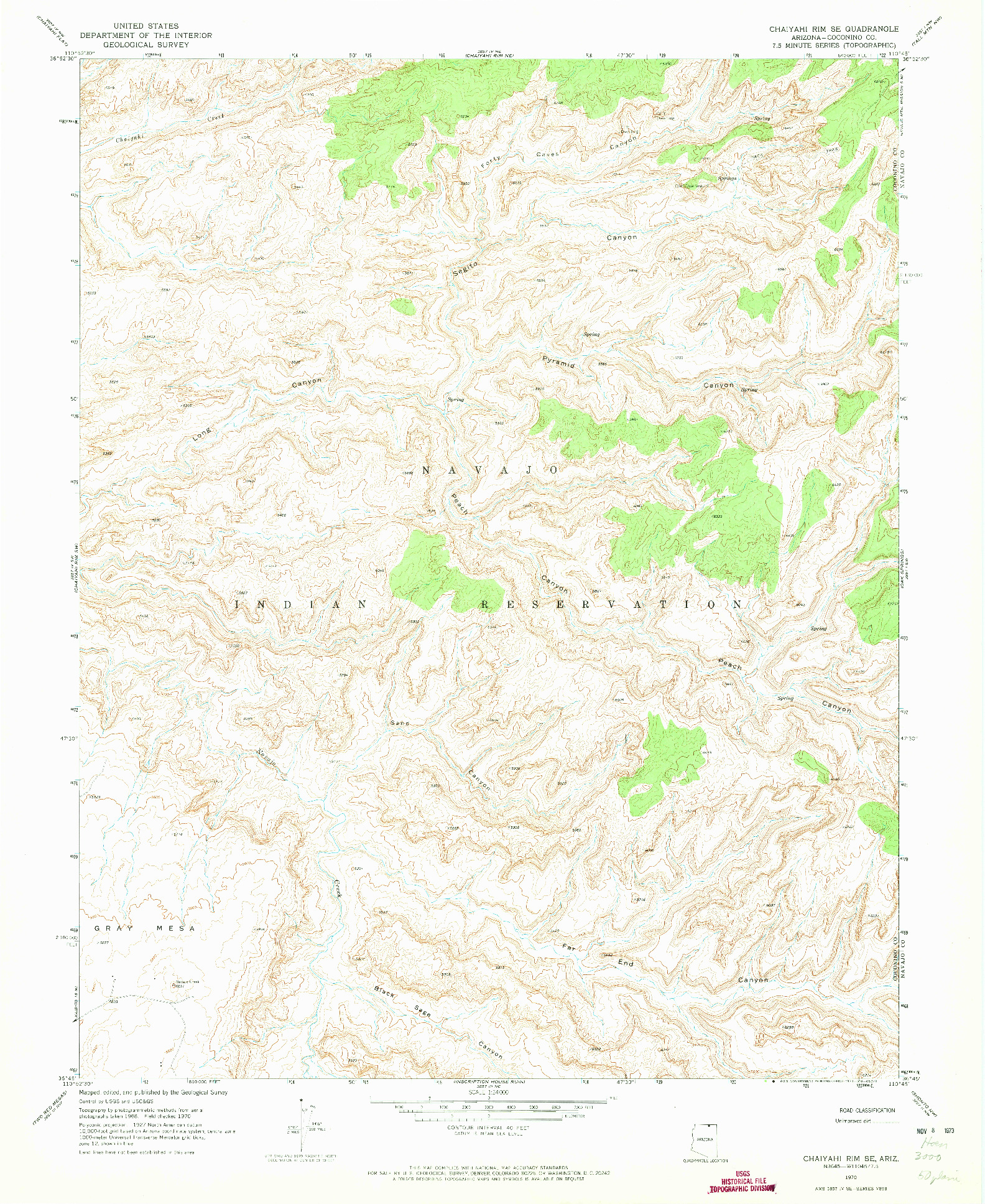 USGS 1:24000-SCALE QUADRANGLE FOR CHAIYAHI RIM SE, AZ 1970