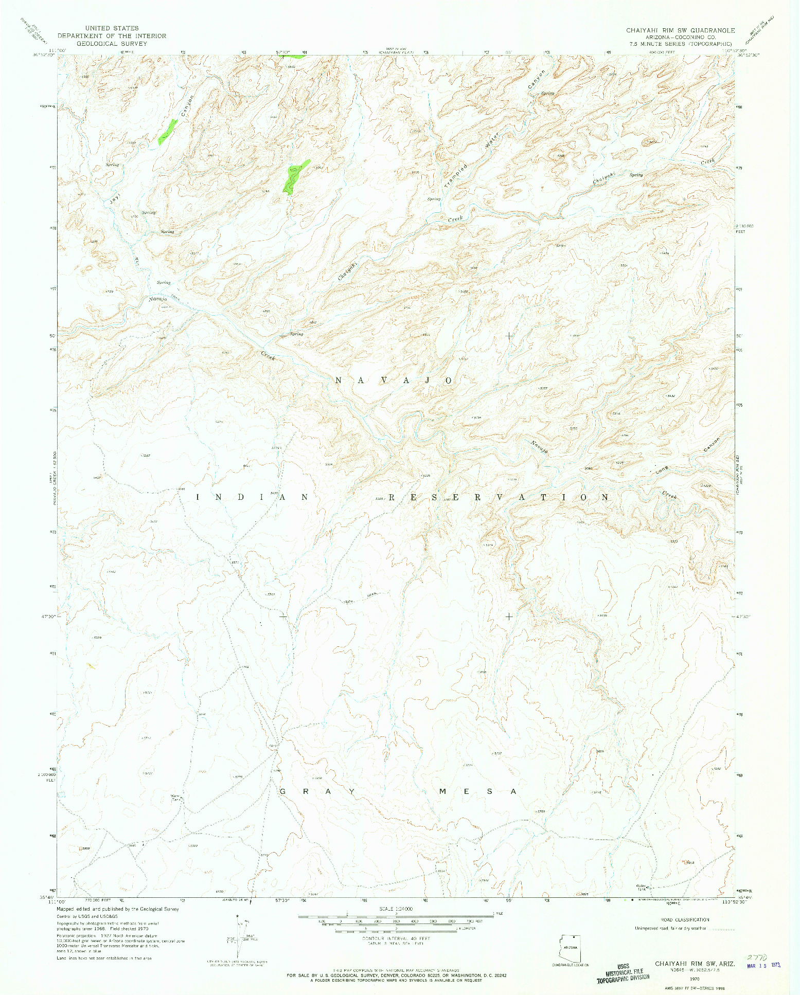USGS 1:24000-SCALE QUADRANGLE FOR CHAIYAHI RIM SW, AZ 1970