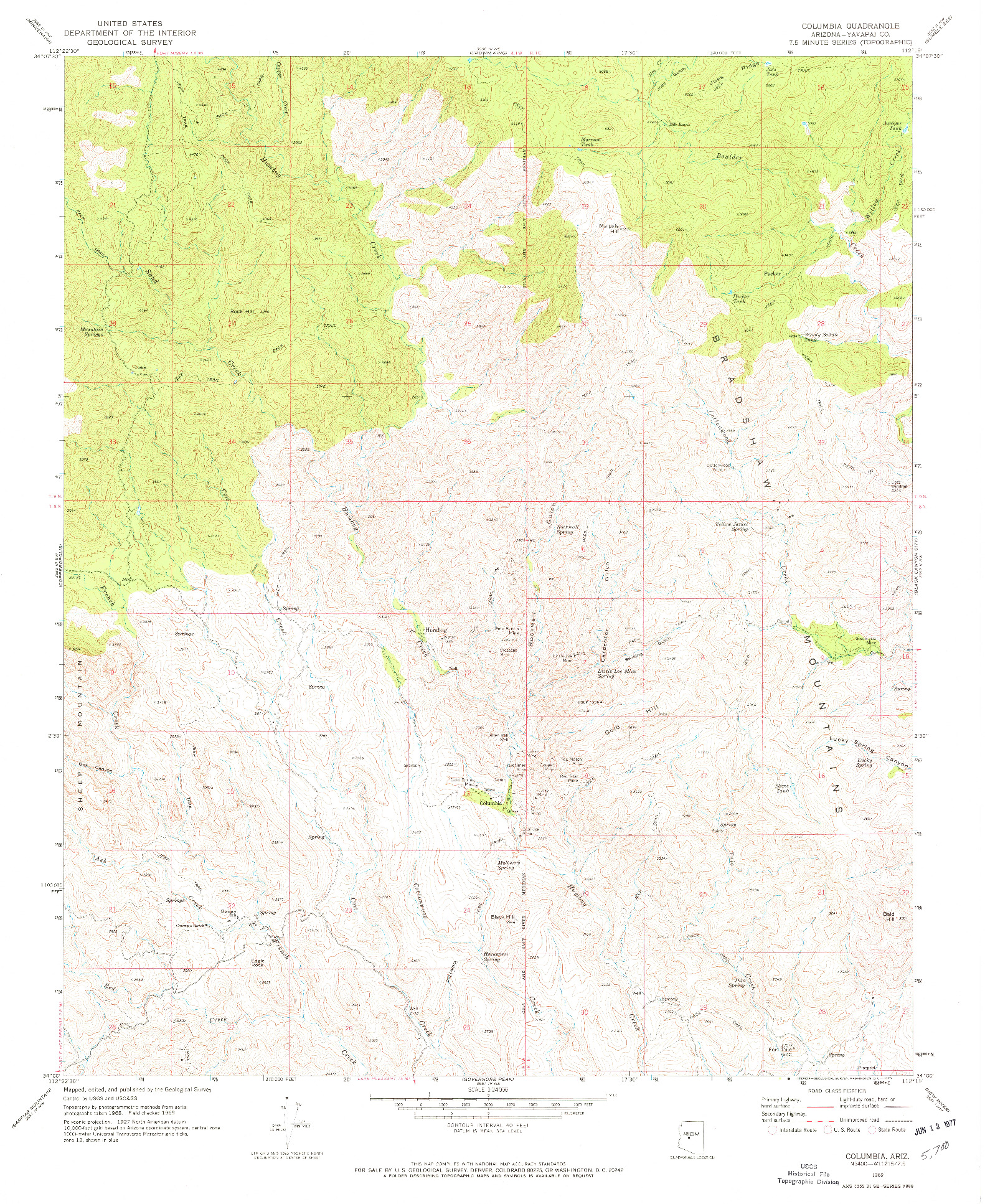 USGS 1:24000-SCALE QUADRANGLE FOR COLUMBIA, AZ 1969