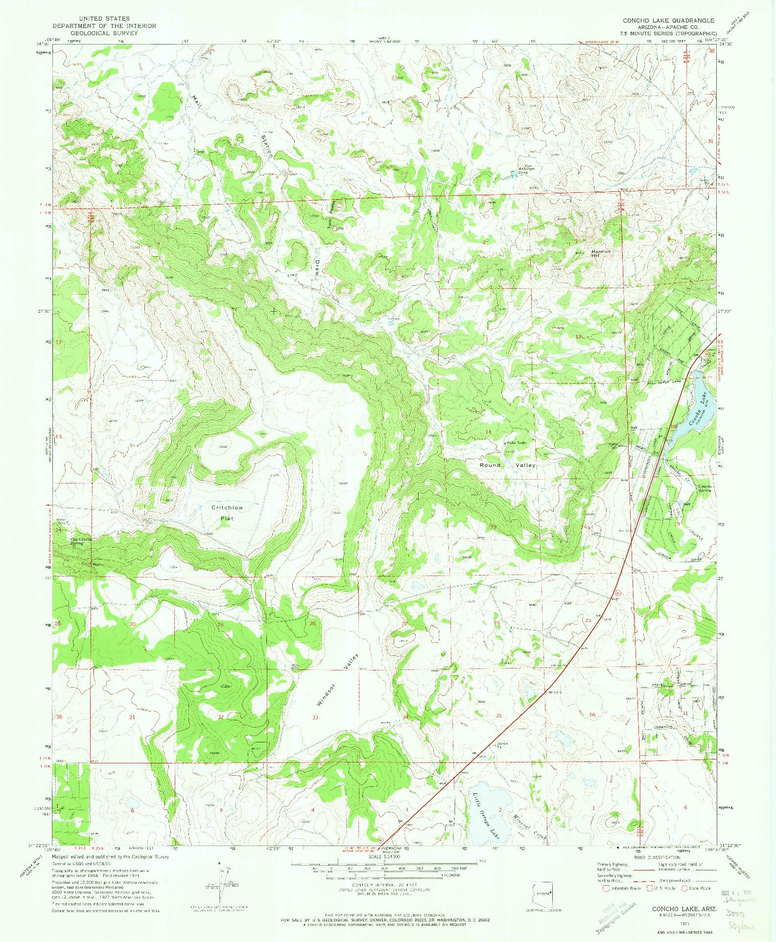 USGS 1:24000-SCALE QUADRANGLE FOR CONCHO LAKE, AZ 1971