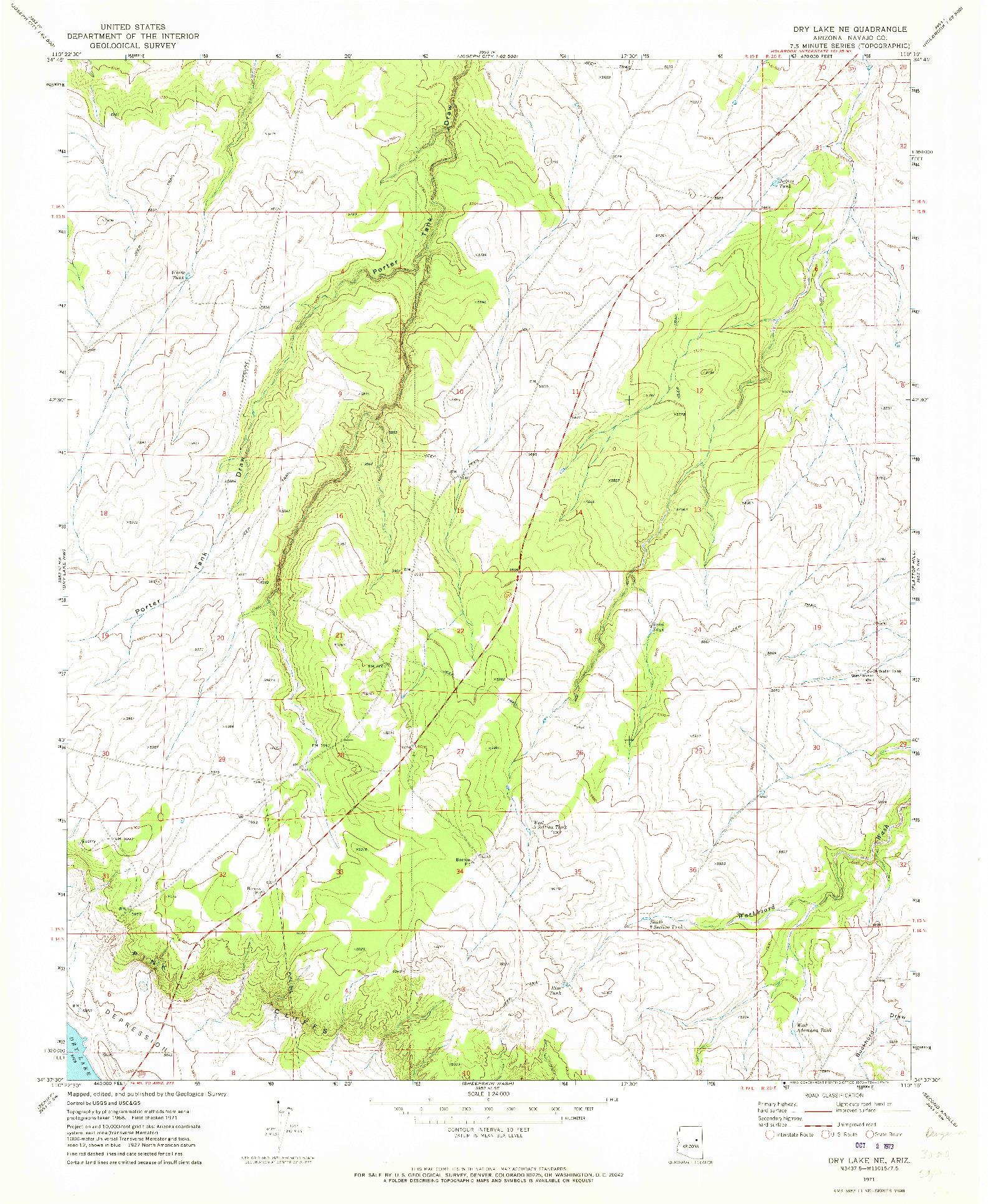 USGS 1:24000-SCALE QUADRANGLE FOR DRY LAKE NE, AZ 1971