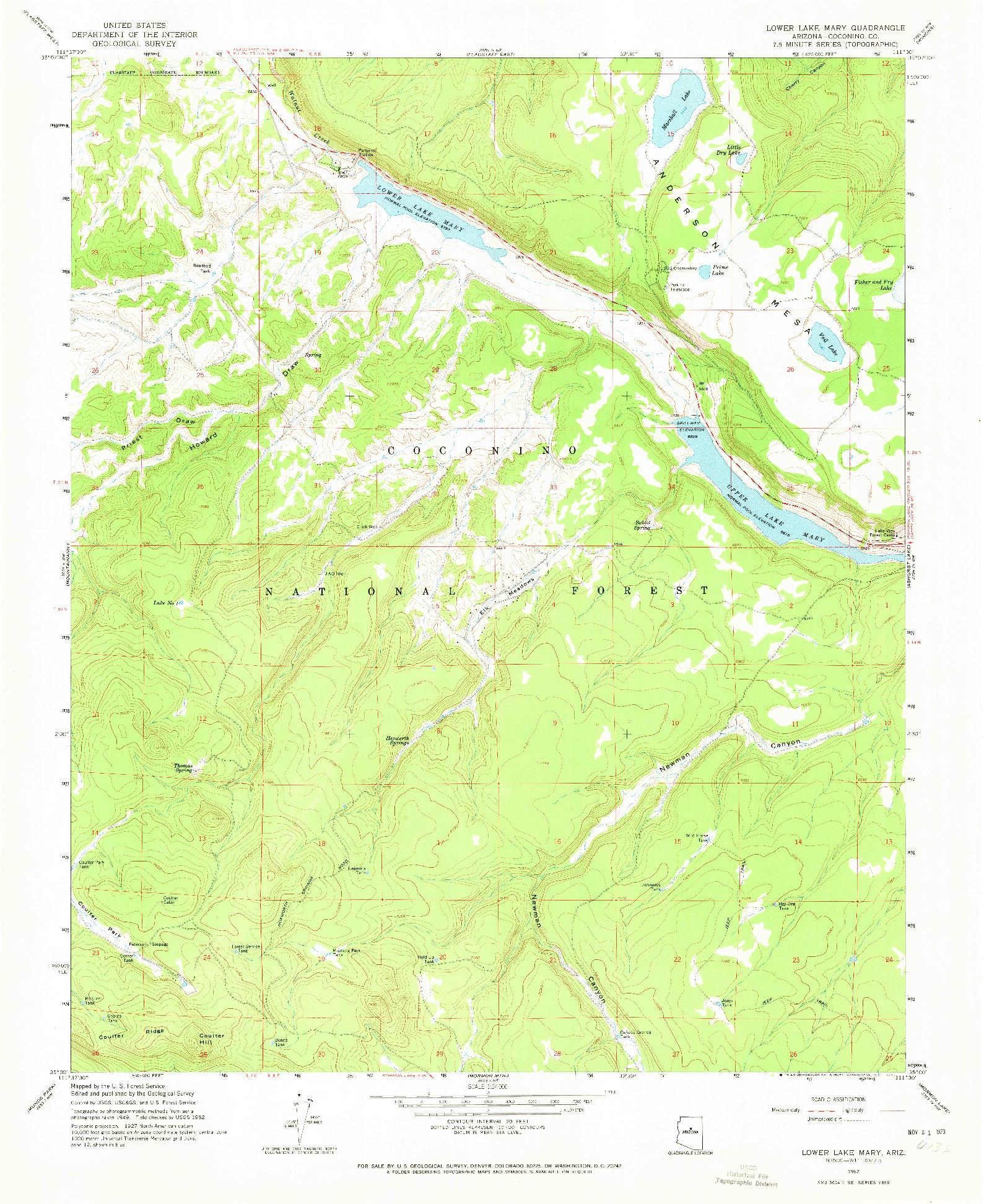 USGS 1:24000-SCALE QUADRANGLE FOR LOWER LAKE MARY, AZ 1962